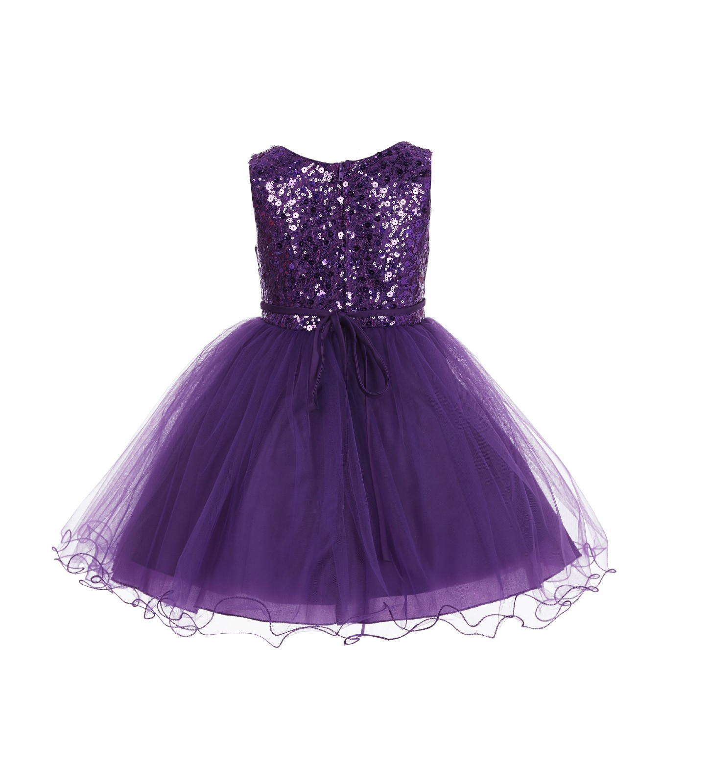 Purple Glitter Sequin Tulle Flower Girl Dress Pretty Princess B 011