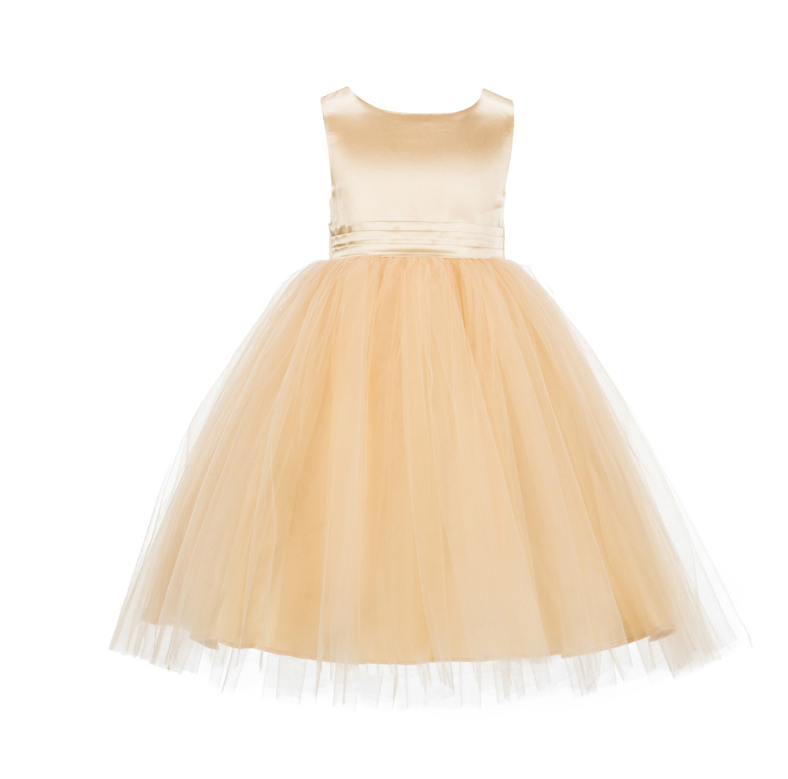 Gold Satin Tulle Flower Girl Dress Toddler Pageant 012B
