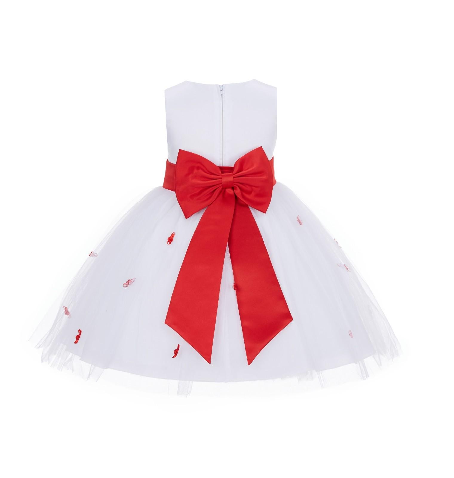 Whitered Rosebuds Satin Tulle Flower Girl Dress Events 815t White