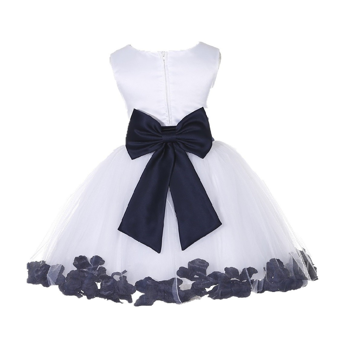 White/ Midnight Rose Petals Tulle Flower Girl Dress Wedding 305T