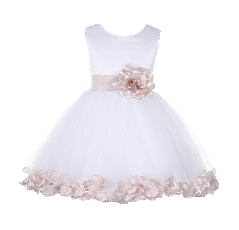 White/ Blush Pink Rose Petals Tulle Flower Girl Dress Wedding 305T