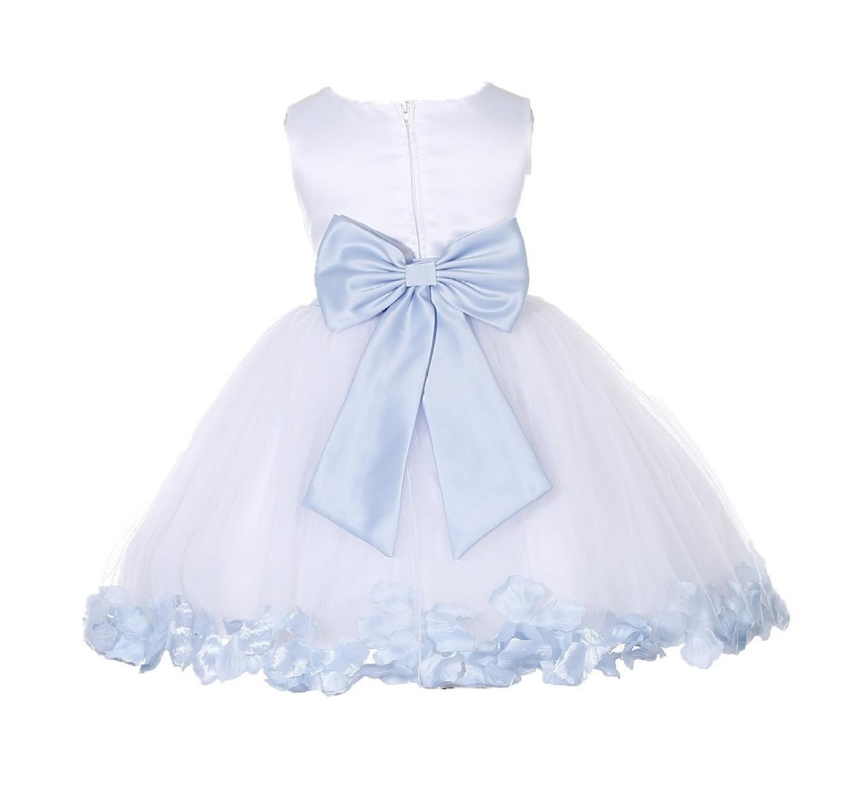 White/ Ice Blue Rose Petals Tulle Flower Girl Dress Wedding 305T