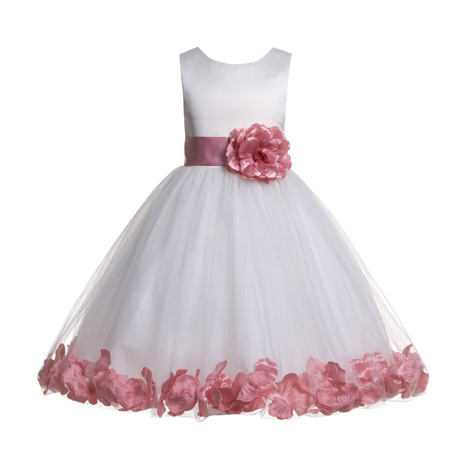 Ivorydusty Rose Tulle Rose Petals Flower Girl Dress Pageant 302s