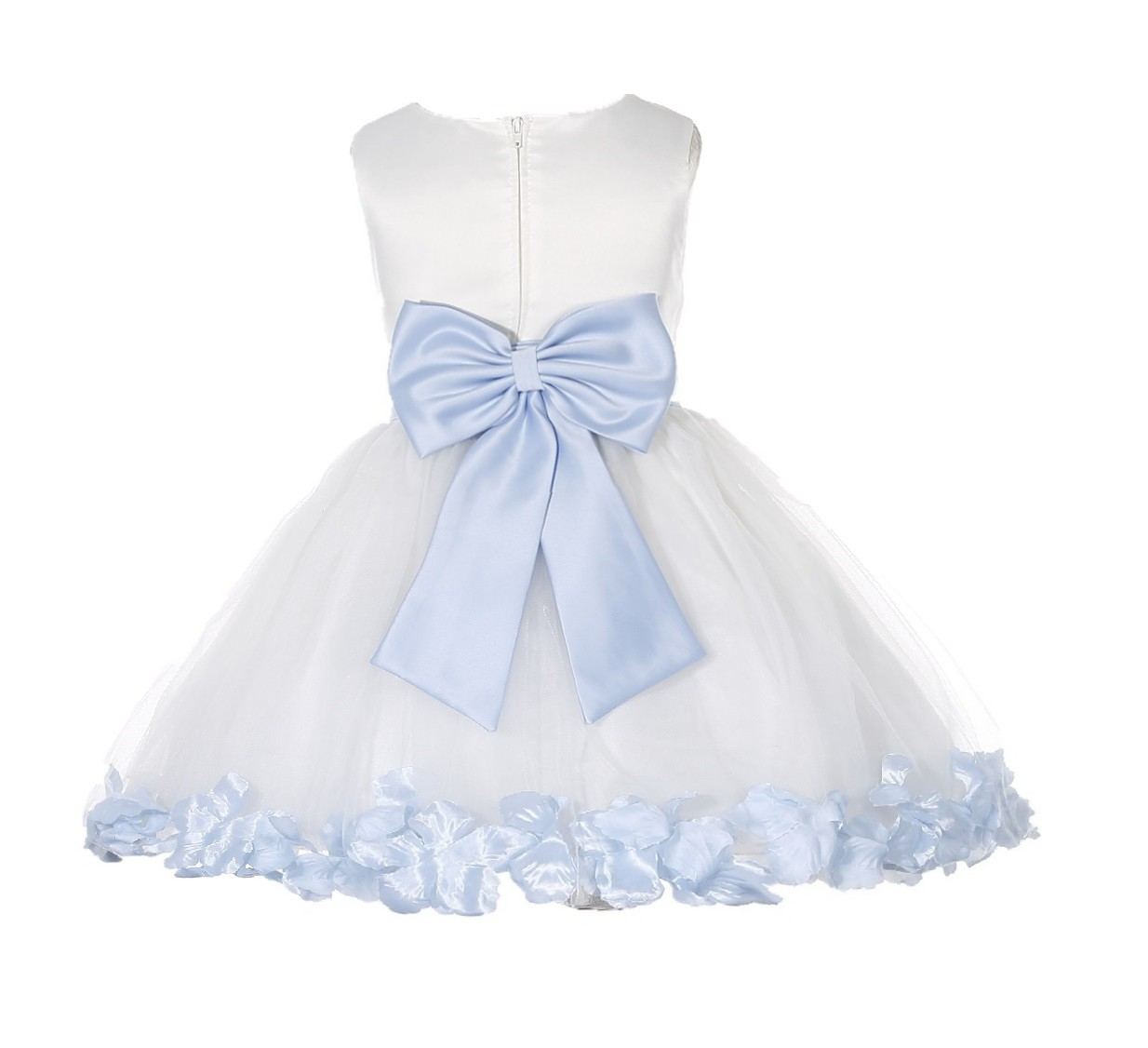 Ivory/ Ice Blue Rose Petals Tulle Flower Girl Dress Pageant 305T