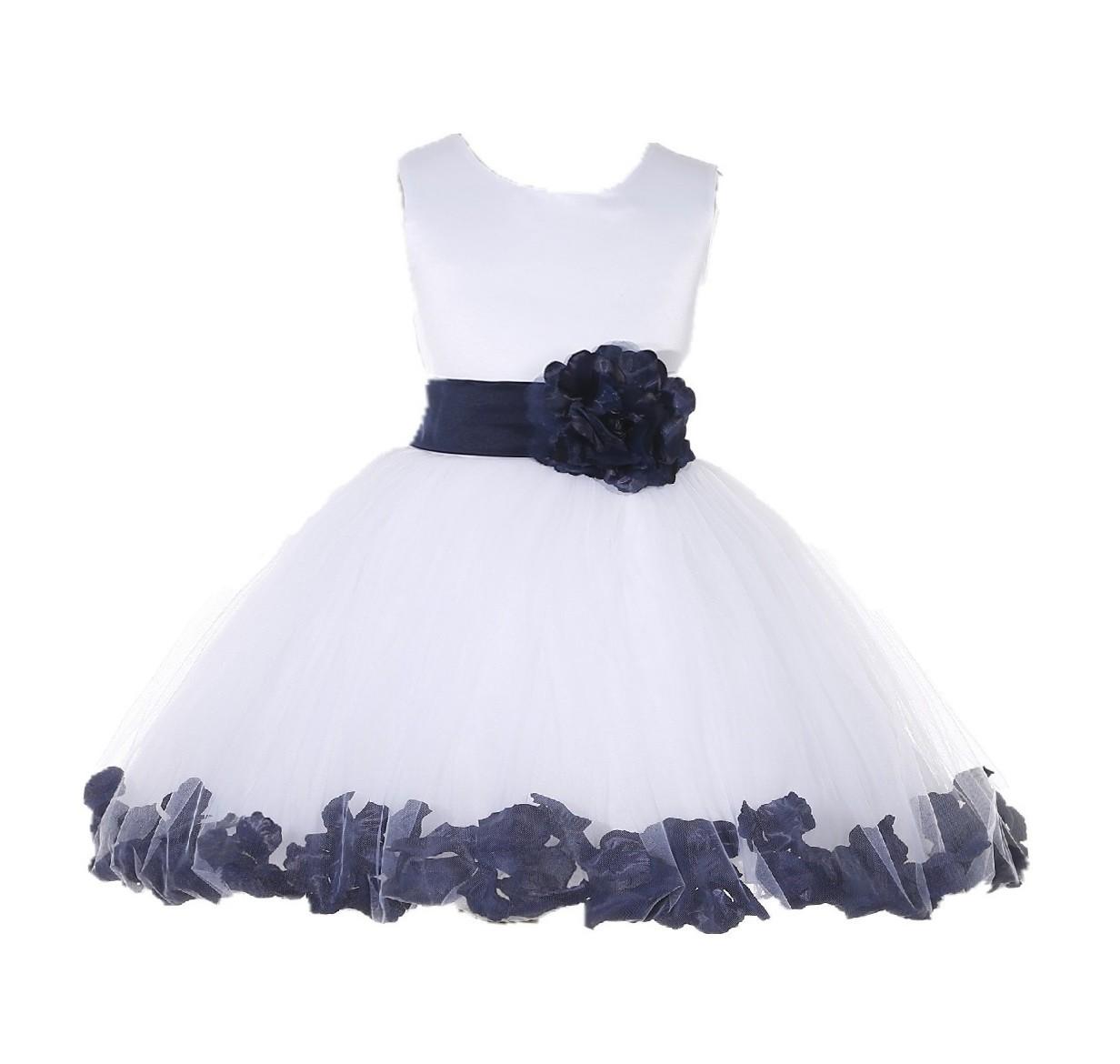 White/ Marine Rose Petals Tulle Flower Girl Dress Wedding 305T