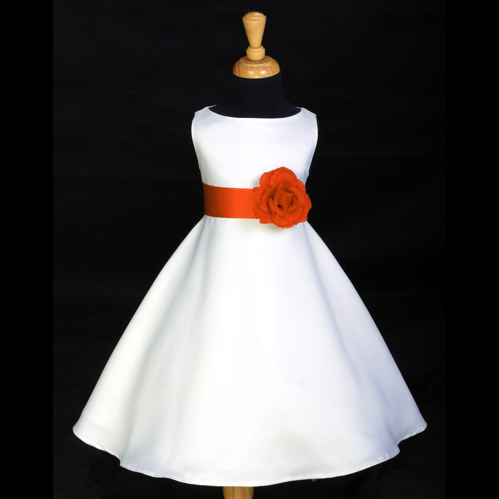 Whiteorange A Line Flower Pin Satin Flower Girl Dress 821s C3