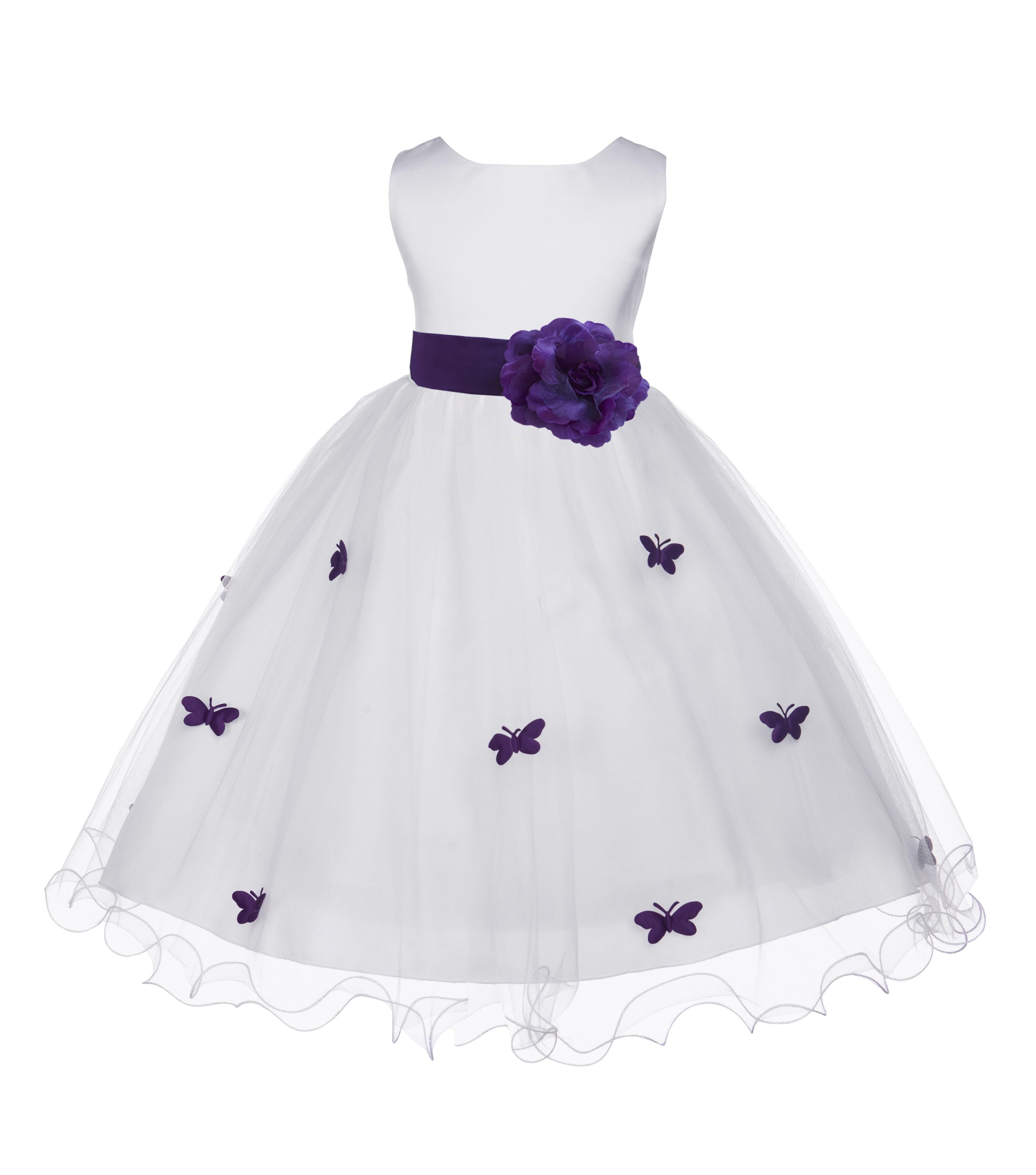 Purple Butterflies Tulle Flower Girl Dress Elegant Pageant 509s