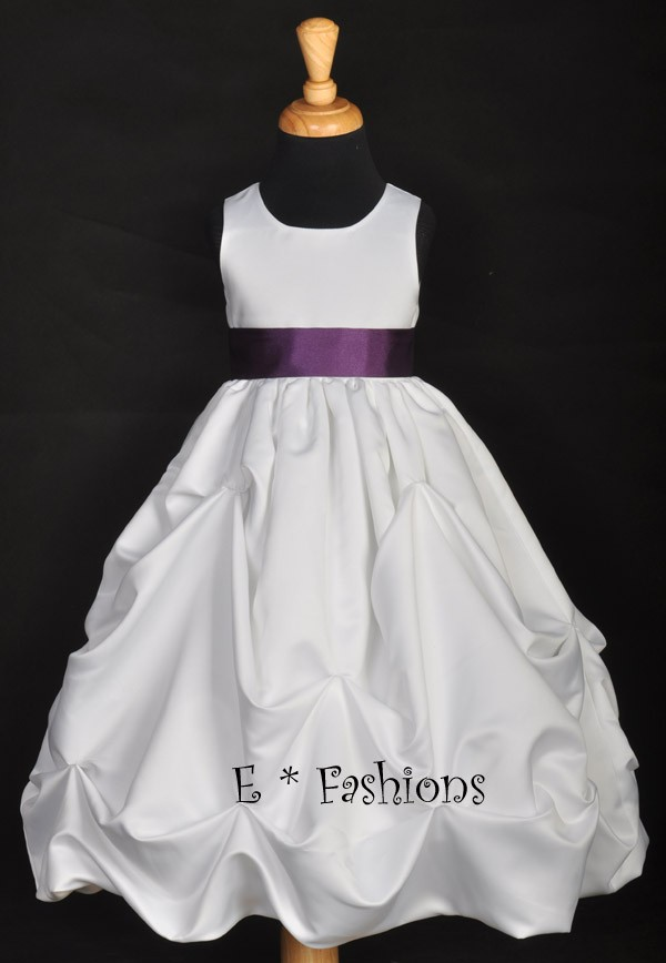 whitepurple flower girl dress