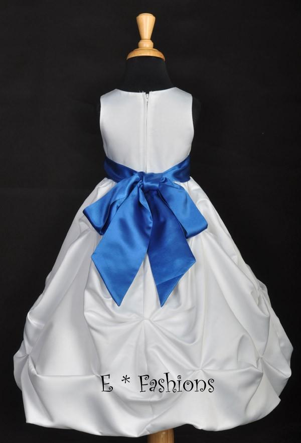White/Royal Blue BABY FLOWER GIRL DRESS