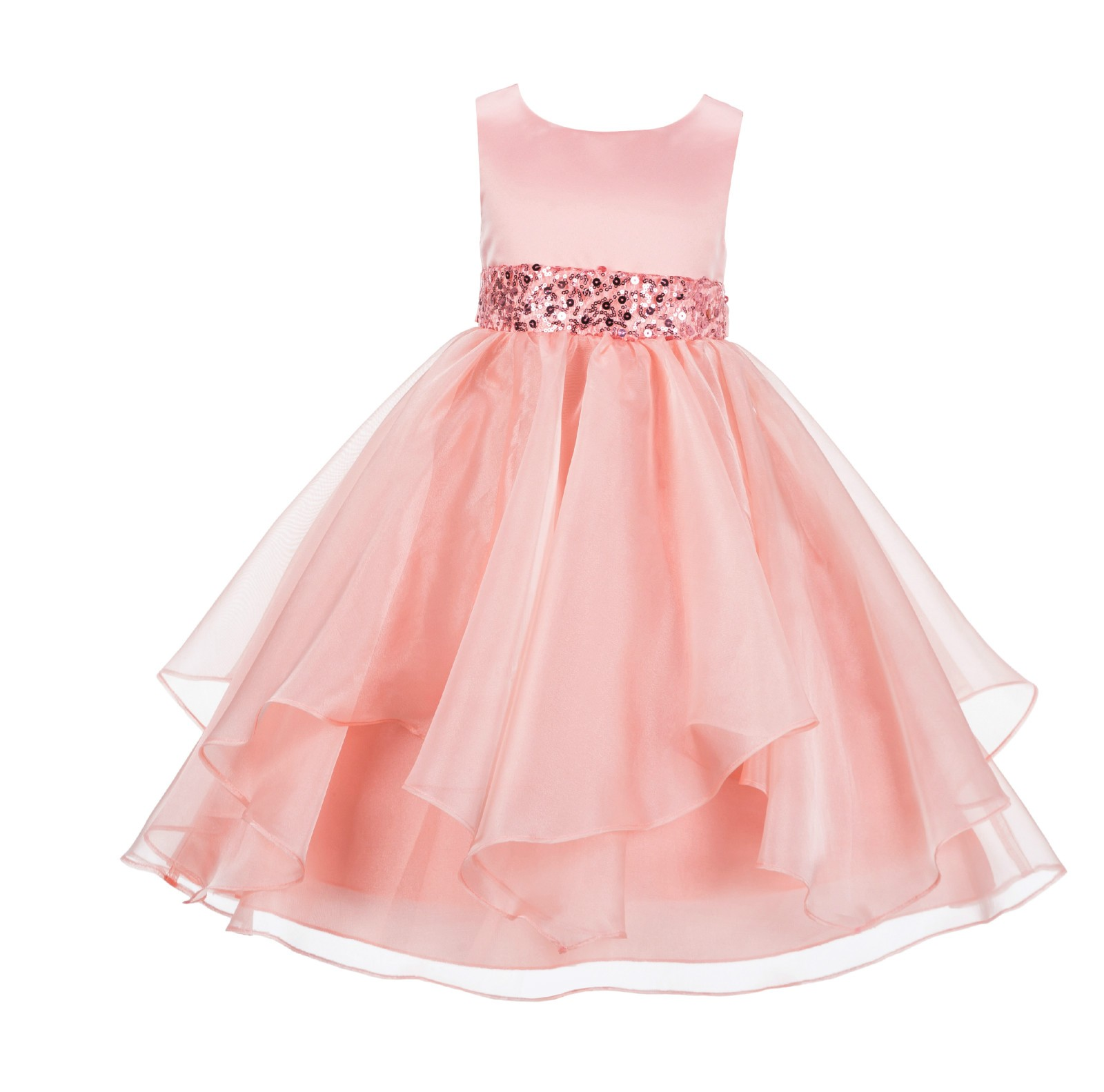 Peach Asymmetric Ruffled Organza Sequin Flower Girl Dress 012S