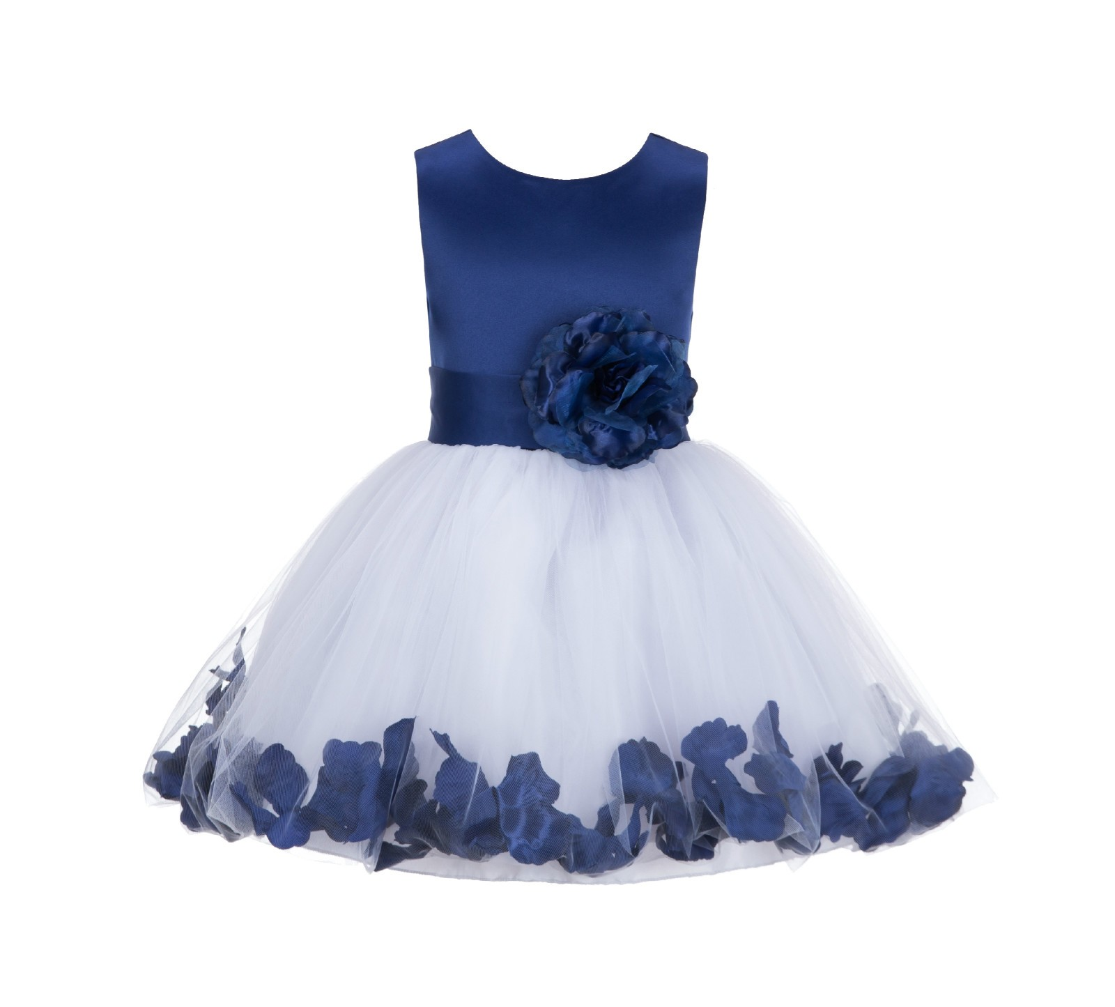 Navy Blue Rose Petals Tulle Flower Girl Dress Formal Wear 305ns