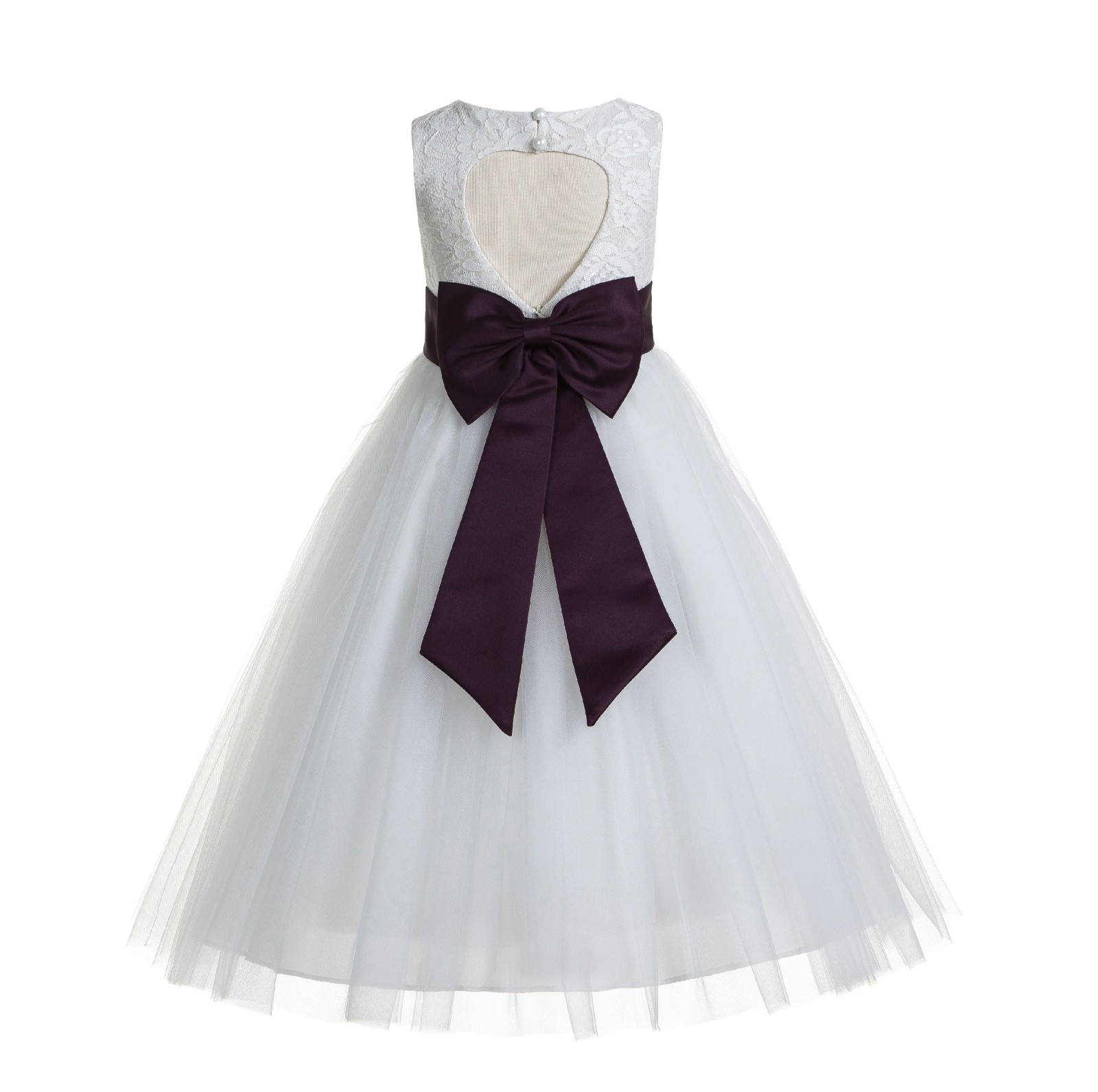 0a40daa36 White / Plum Floral Lace Heart Cutout Flower Girl Dress with Flower 172T