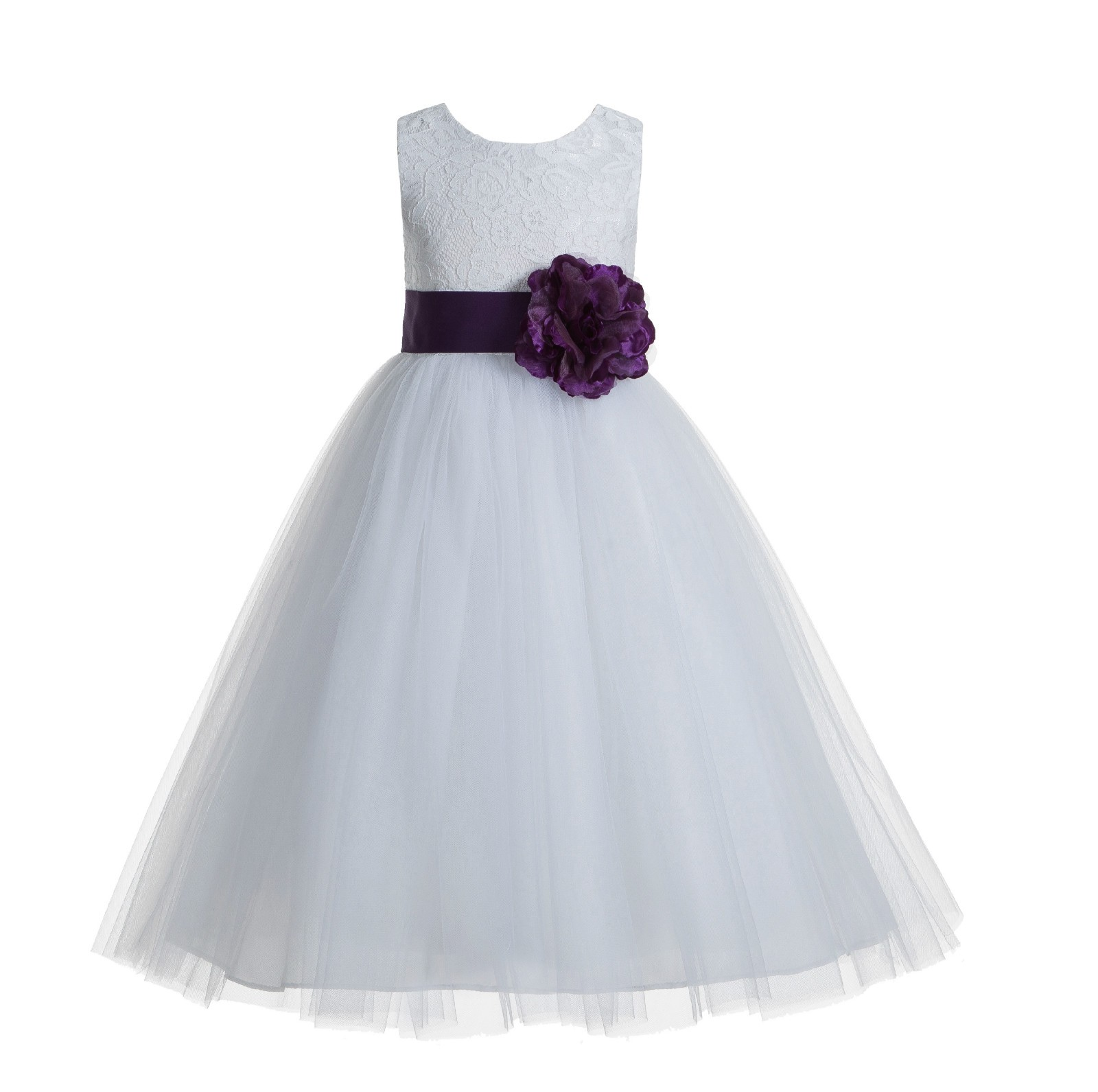 White Purple Floral Lace Heart Cutout Flower Girl Dress With