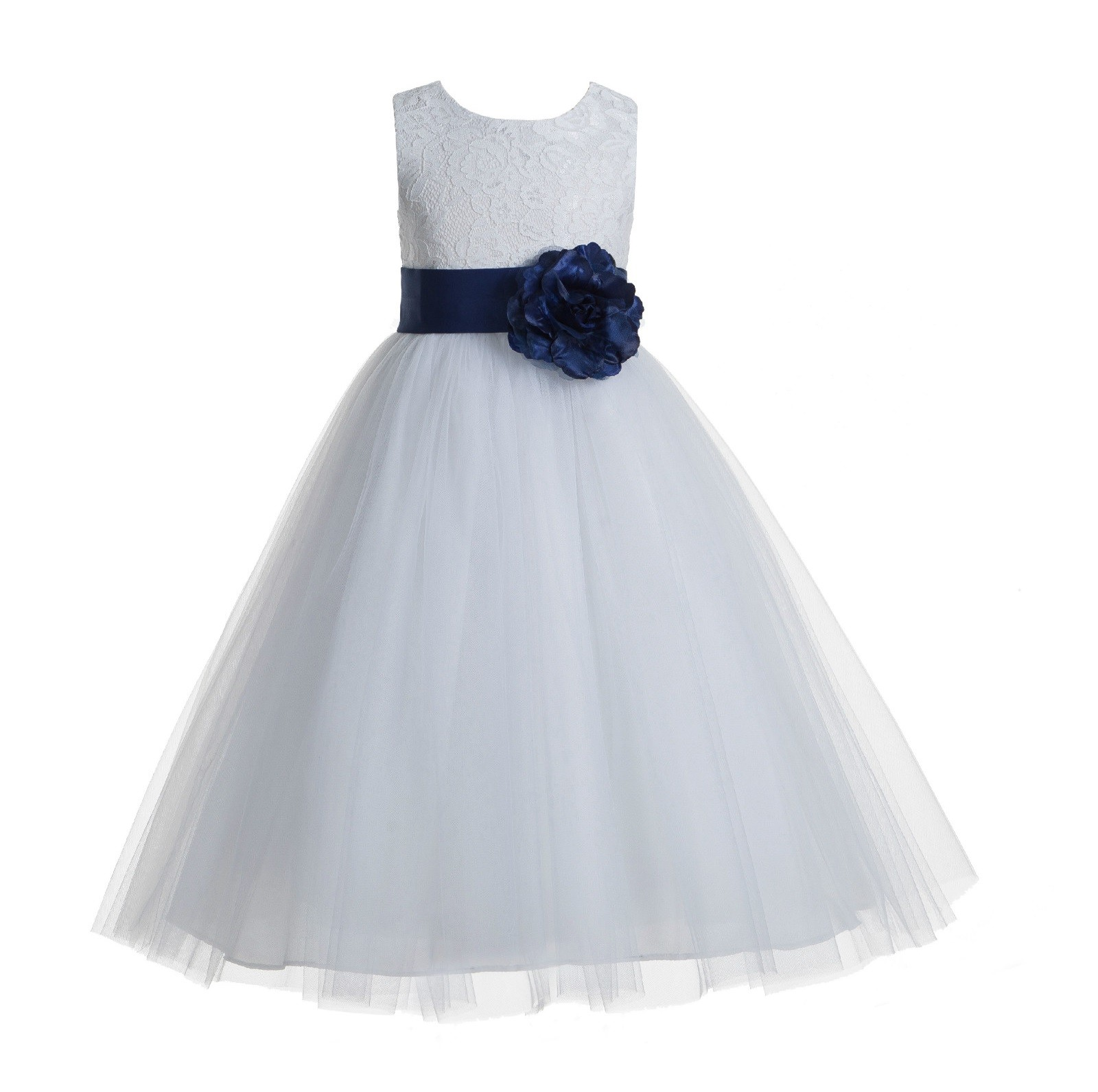 White navy blue floral lace heart cutout flower girl dress with white navy blue floral lace heart cutout flower girl dress with flower 172t izmirmasajfo