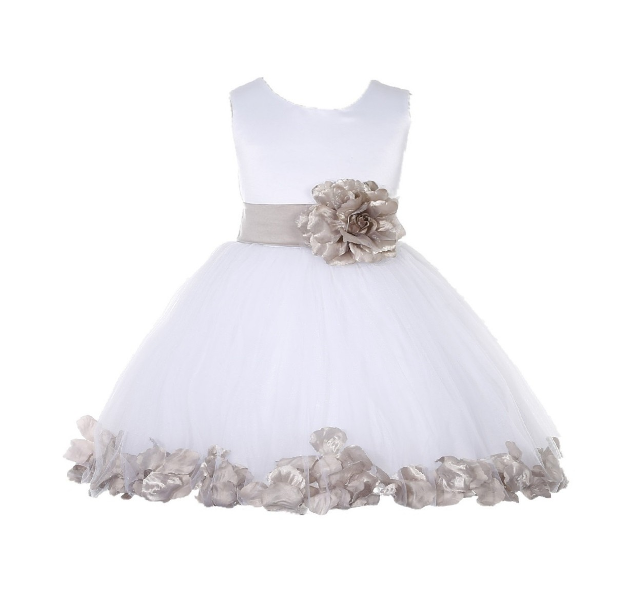 White/ Biscotti Rose Petals Tulle Flower Girl Dress Wedding 305T
