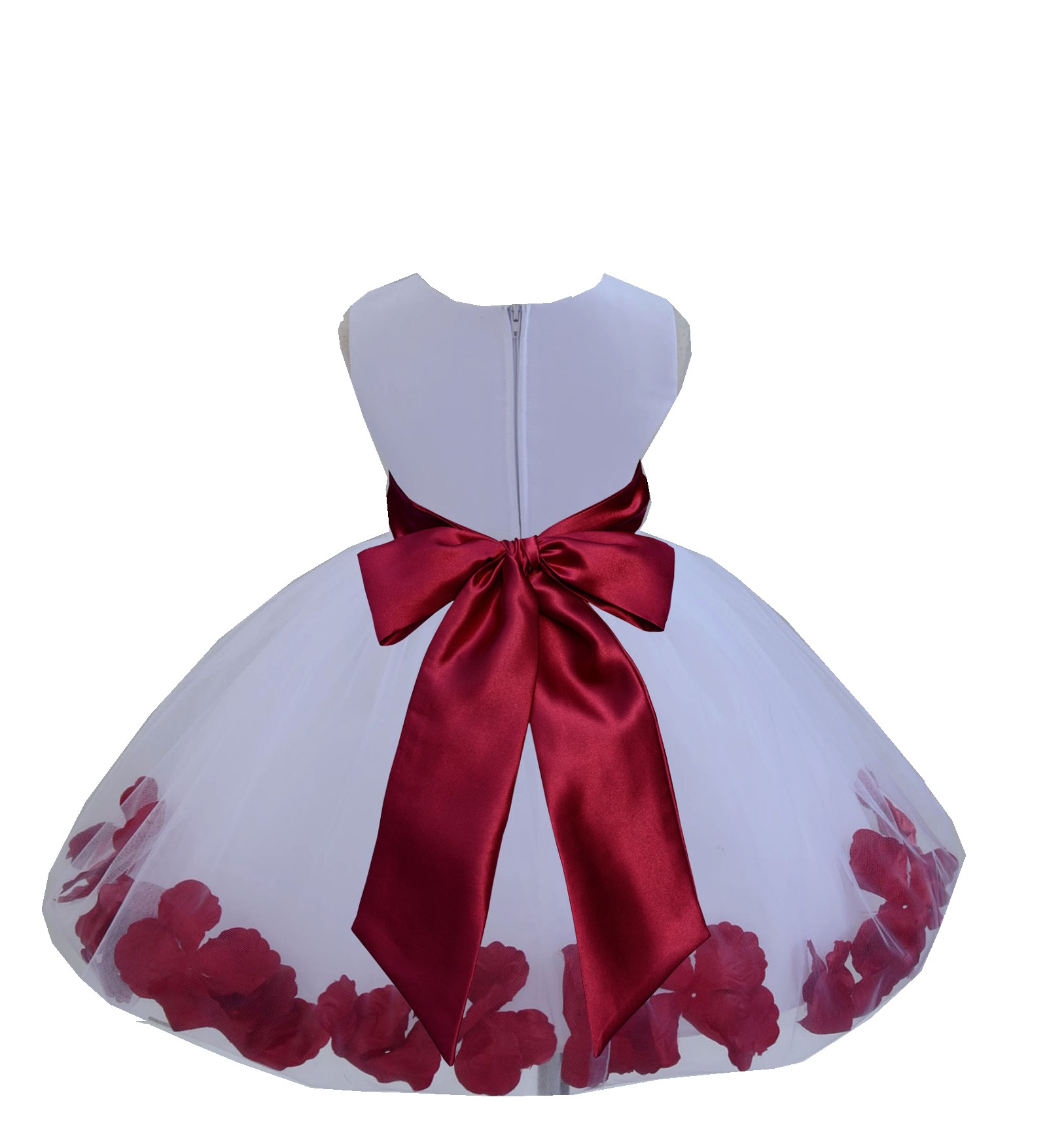 White/Apple Red Tulle Rose Petals Knee Length Flower Girl Dress 306S ...