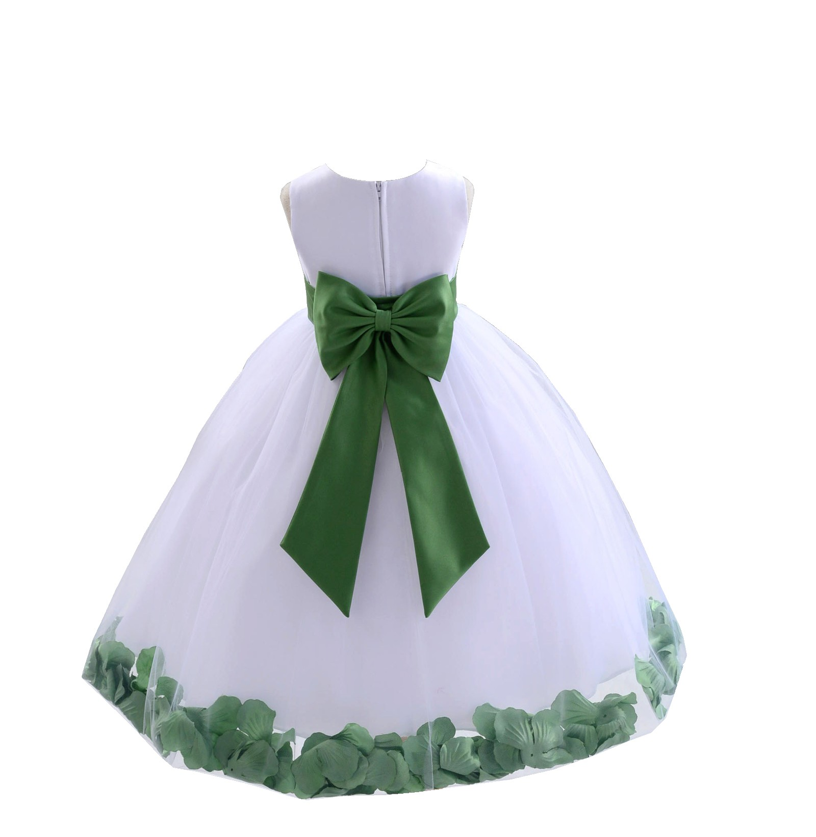 White clover green tulle rose petals flower girl dress for How to ship a wedding dress usps