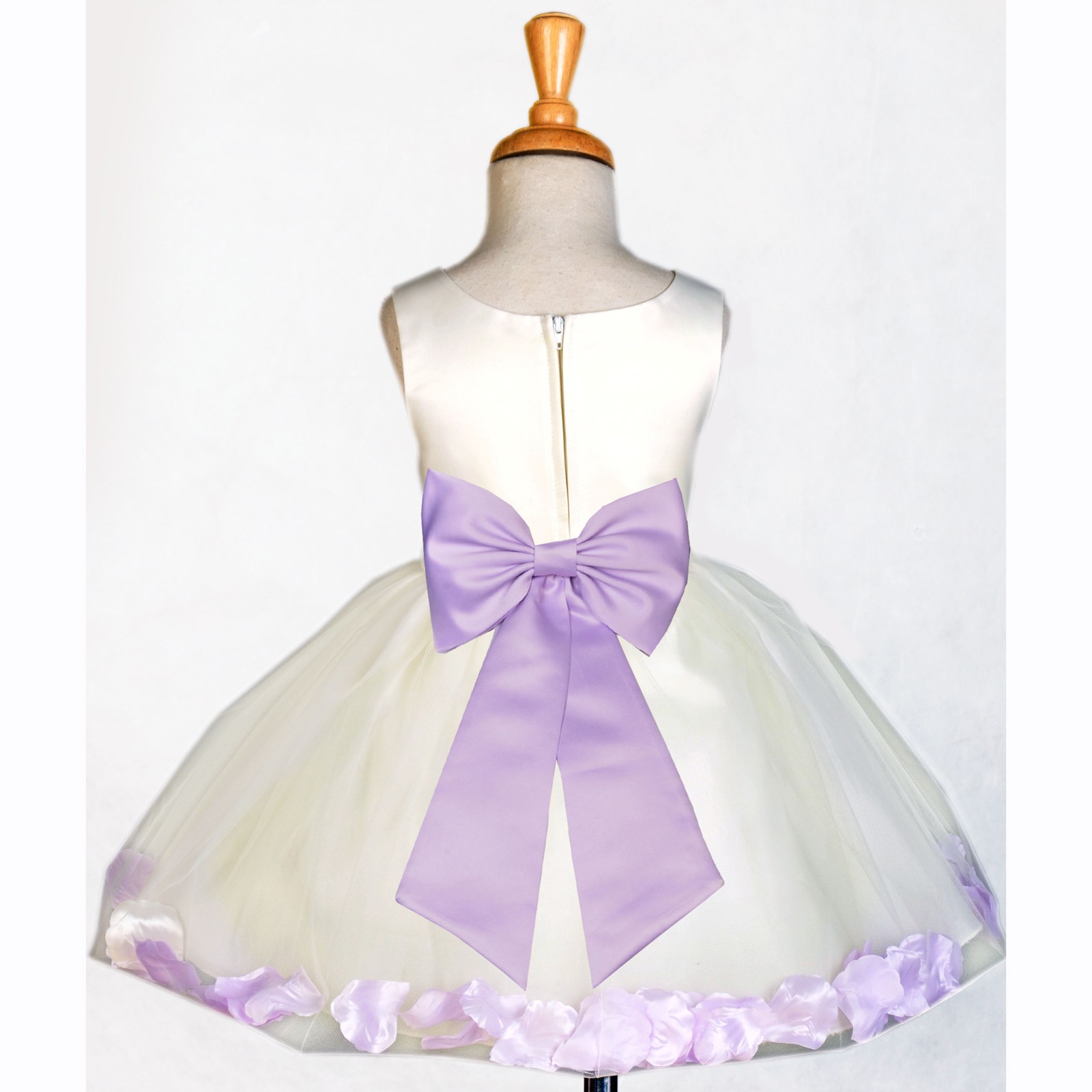 a3536f8ef0a Ivory Lilac Rose Petals Tulle Flower Girl Dress Pageant 305T