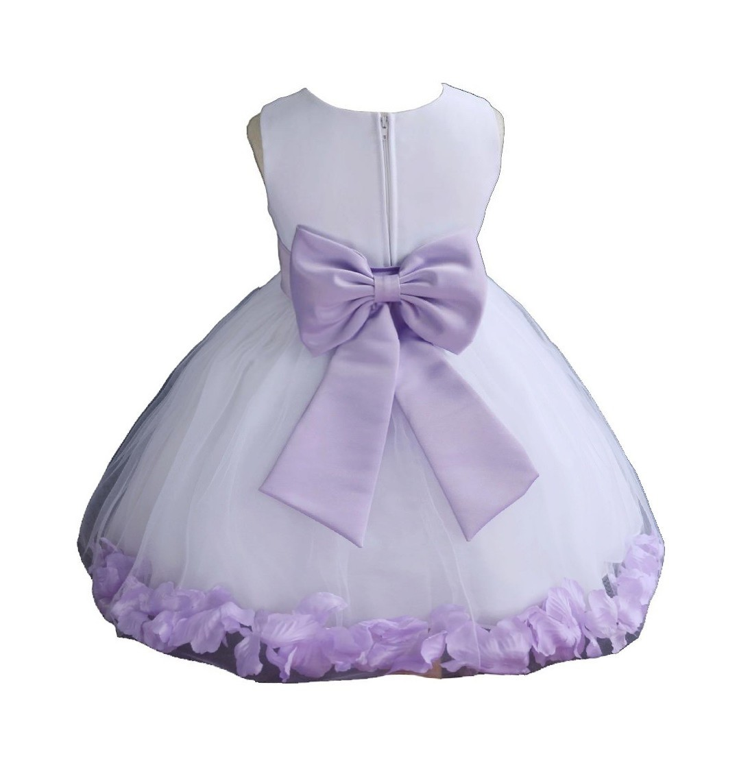 White/ Lilac Rose Petals Tulle Flower Girl Dress Wedding 305T