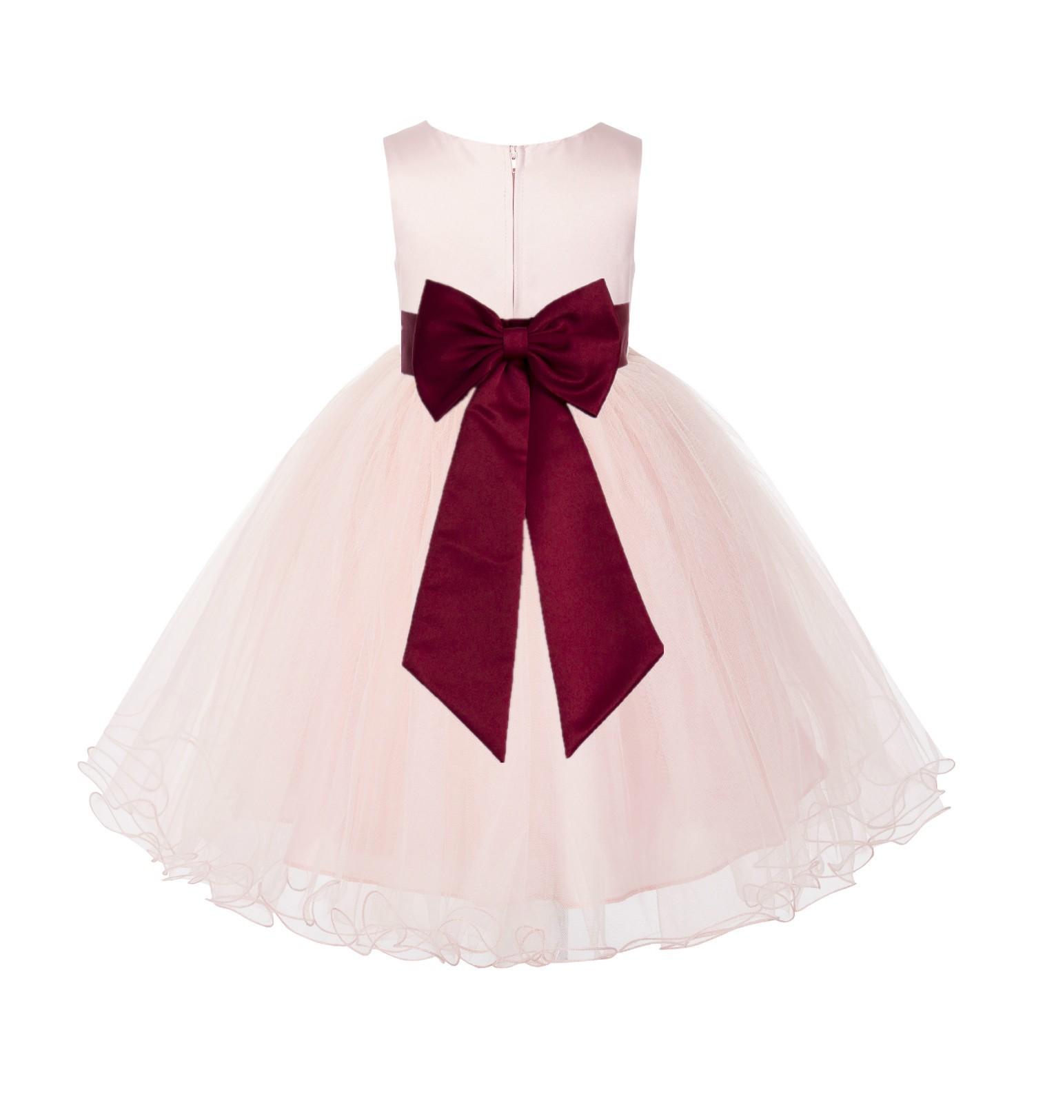 Blush PInk / Apple Tulle Rattail Edge Flower Girl Dress Wedding Bridesmaid 829T