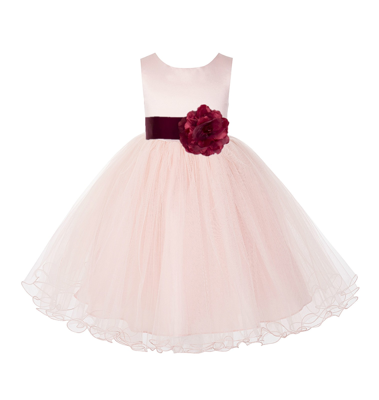 Blush Pink / Apple Tulle Rattail Edge Flower Girl Dress Pageant Recital 829S
