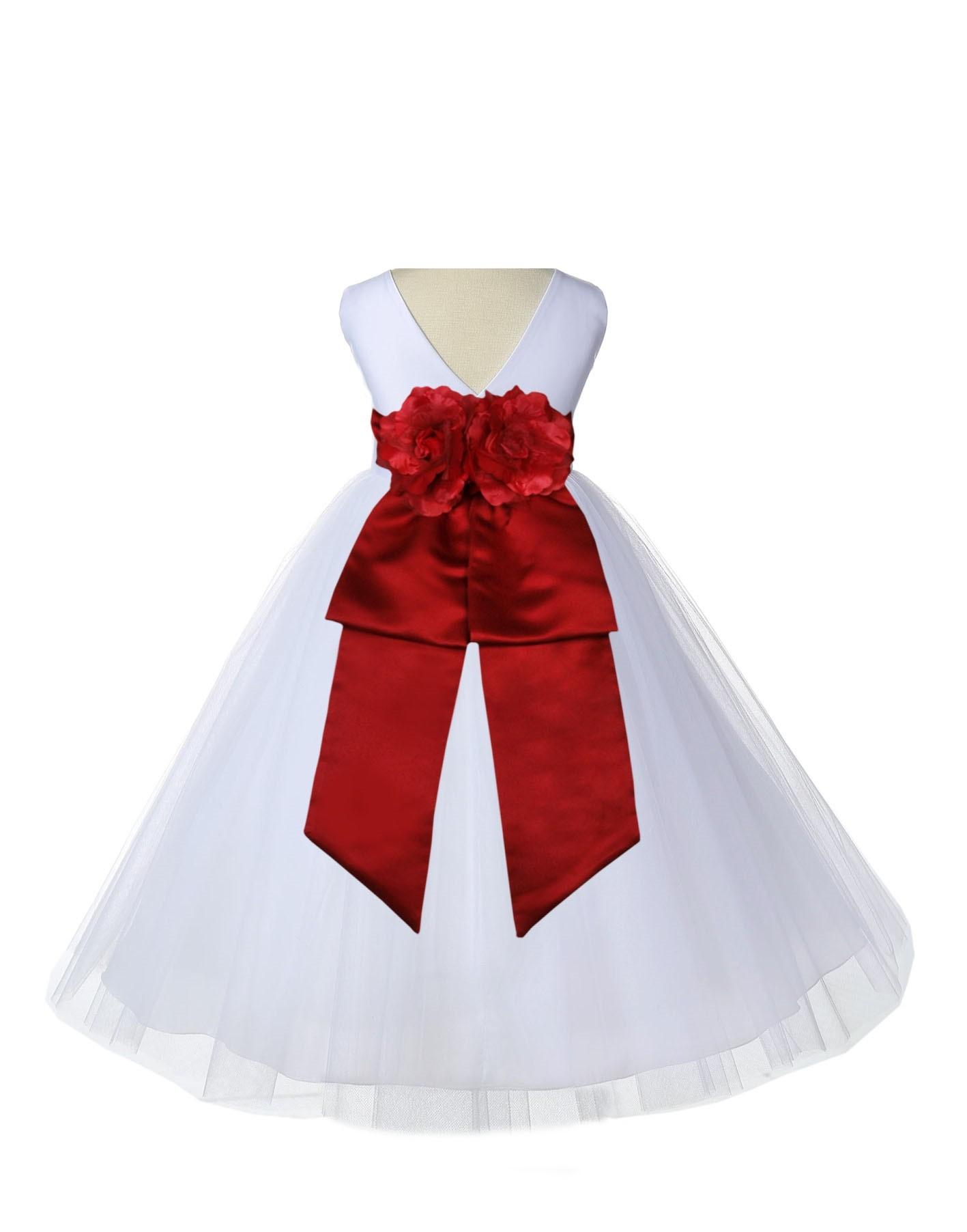 V Neck Tulle Whiteapple Red Flower Girl Dress Wedding Pageant 108