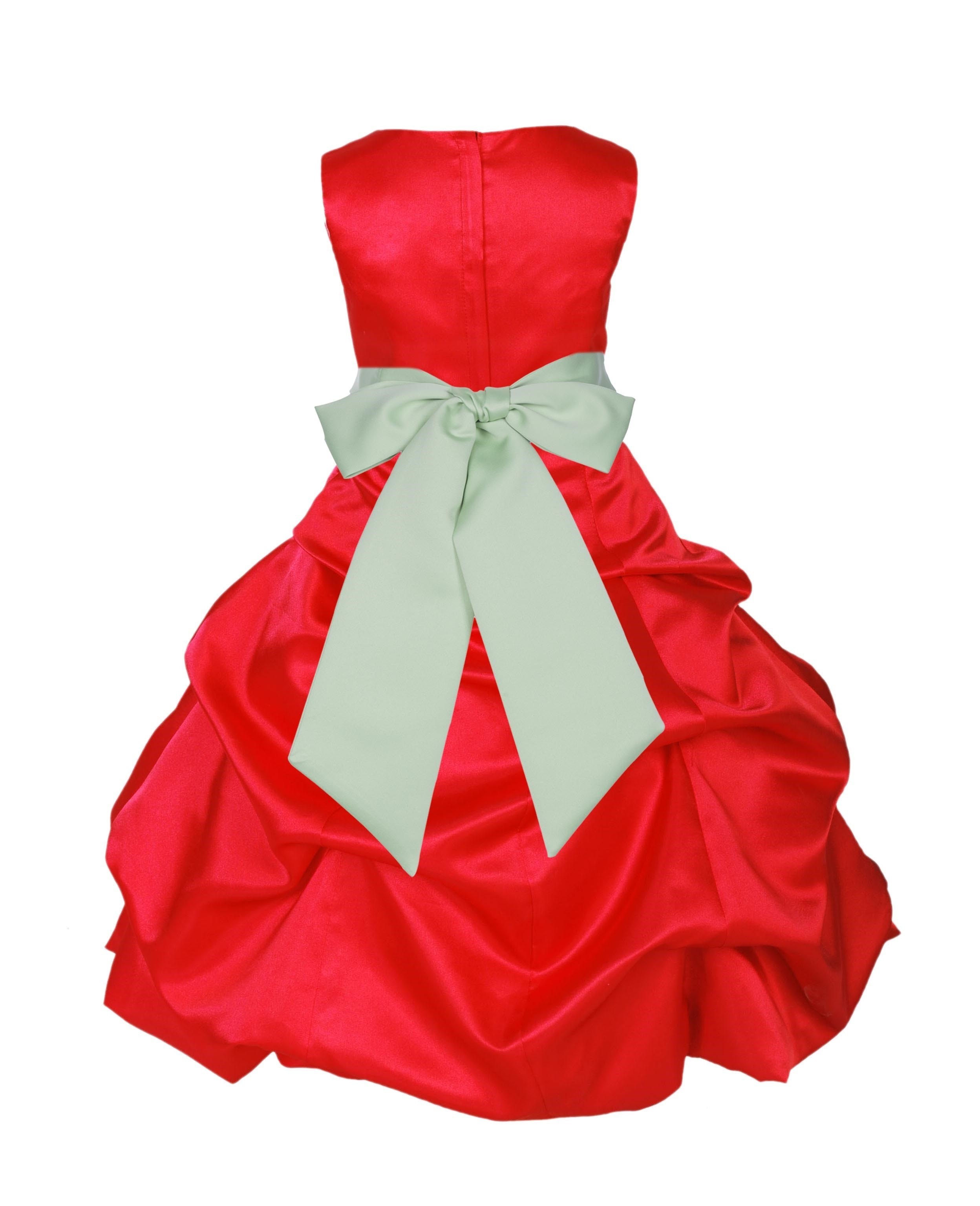 Red/Apple Green Satin Pick-Up Bubble Flower Girl Dress Christmas 806S