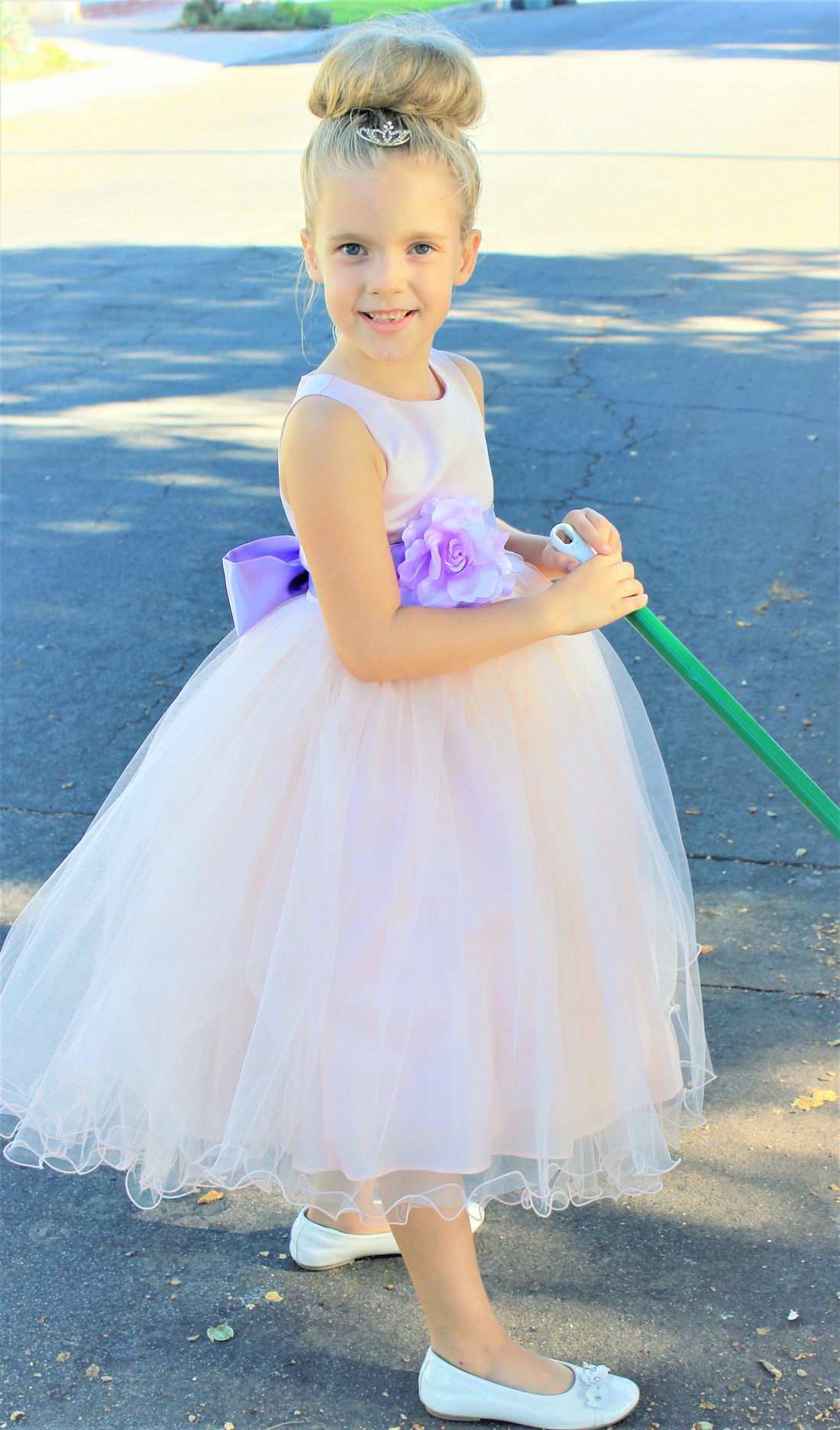 Blush Pink / Lilac Tulle Rattail Edge Flower Girl Dress Pageant Recital 829S