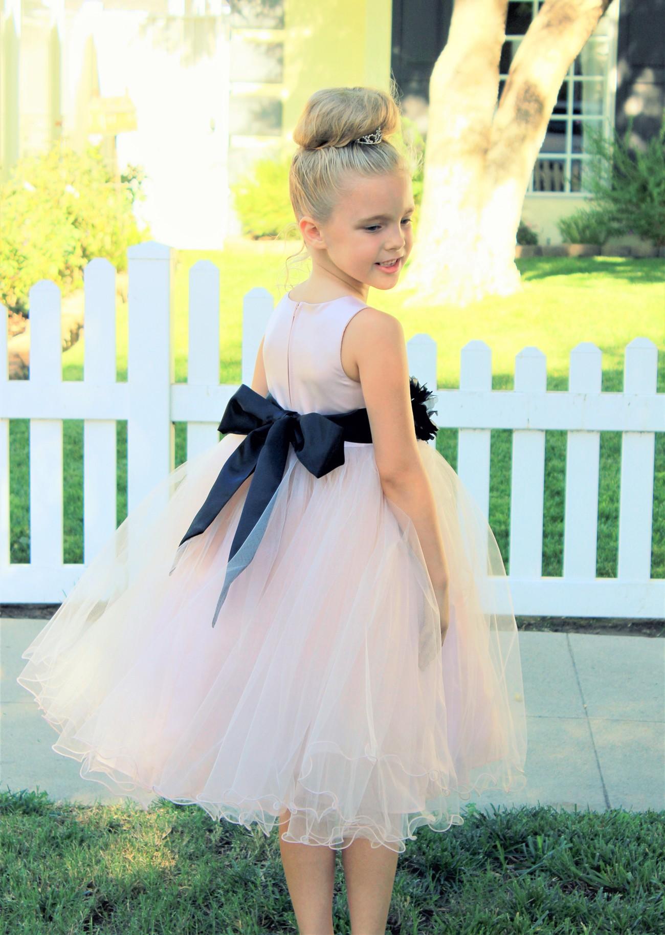 Blush Pink / Black Tulle Rattail Edge Flower Girl Dress Pageant Recital 829S