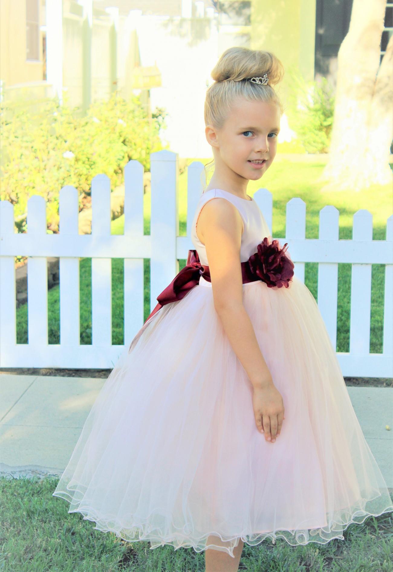 Blush Pink / Burgundy Tulle Rattail Edge Flower Girl Dress Pageant Recital 829S