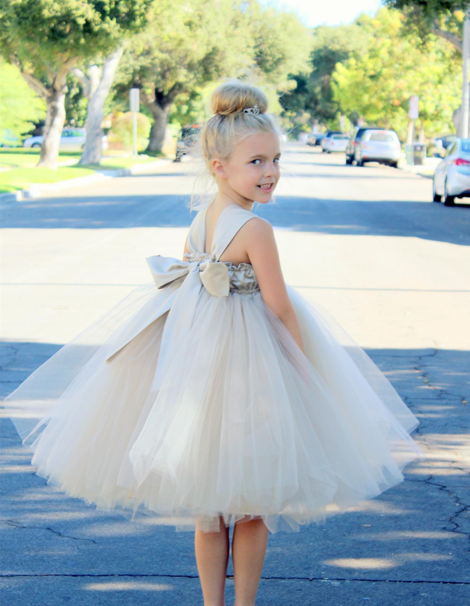 Champagne Sweetheart Neck Top Tutu Flower Girl Dress 201