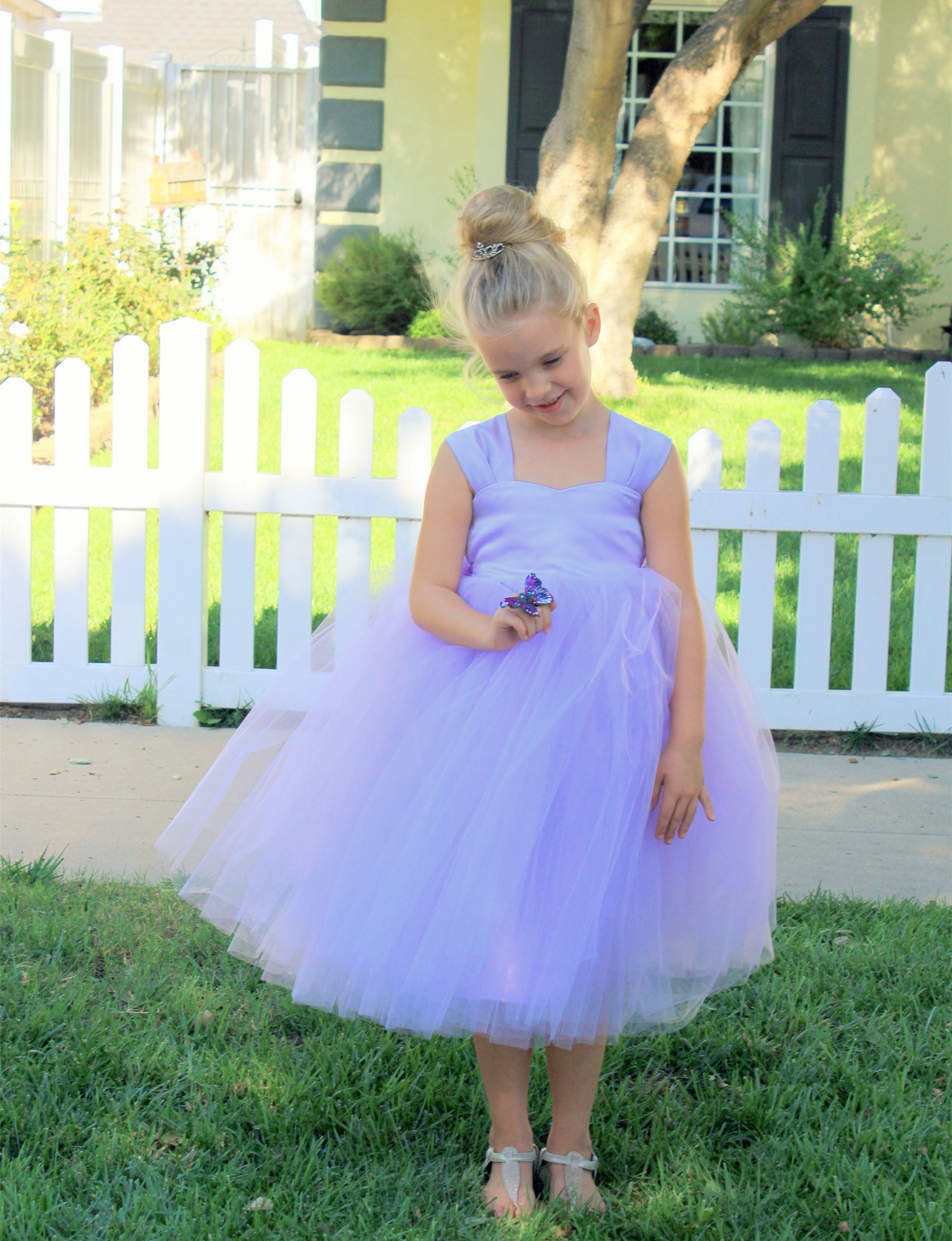 Lilac Sweetheart Neck Top Tutu Flower Girl Dress 201