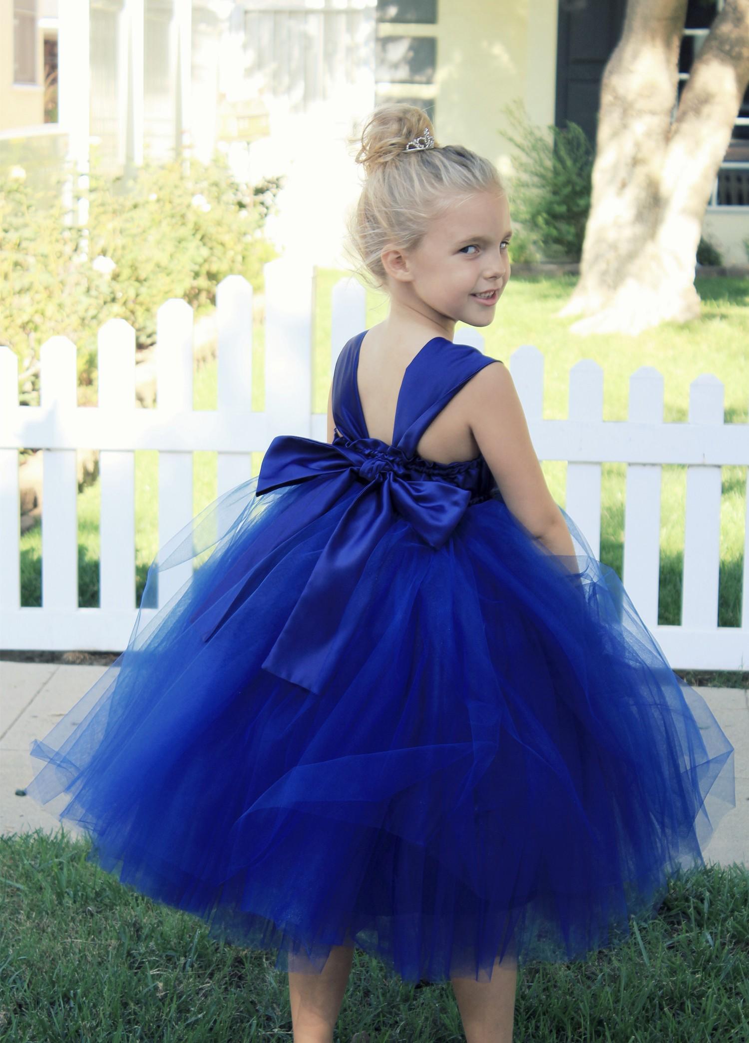 Navy Blue Sweetheart Neck Top Tutu Flower Girl Dress 201