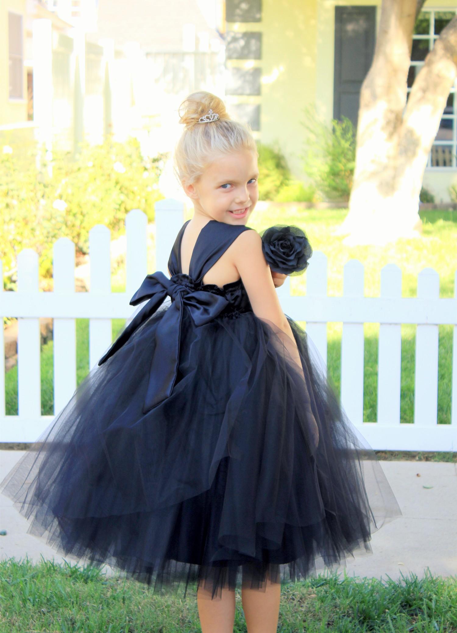 Black Sweetheart Neck Top Tutu Flower Girl Dress 201
