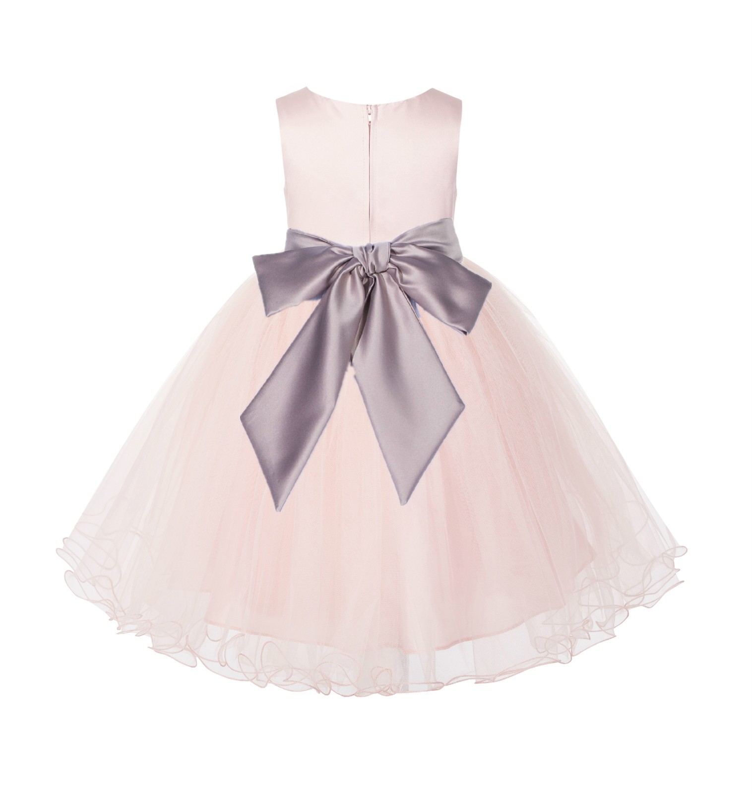 Blush Pink / Biscotti Tulle Rattail Edge Flower Girl Dress Pageant Recital 829S