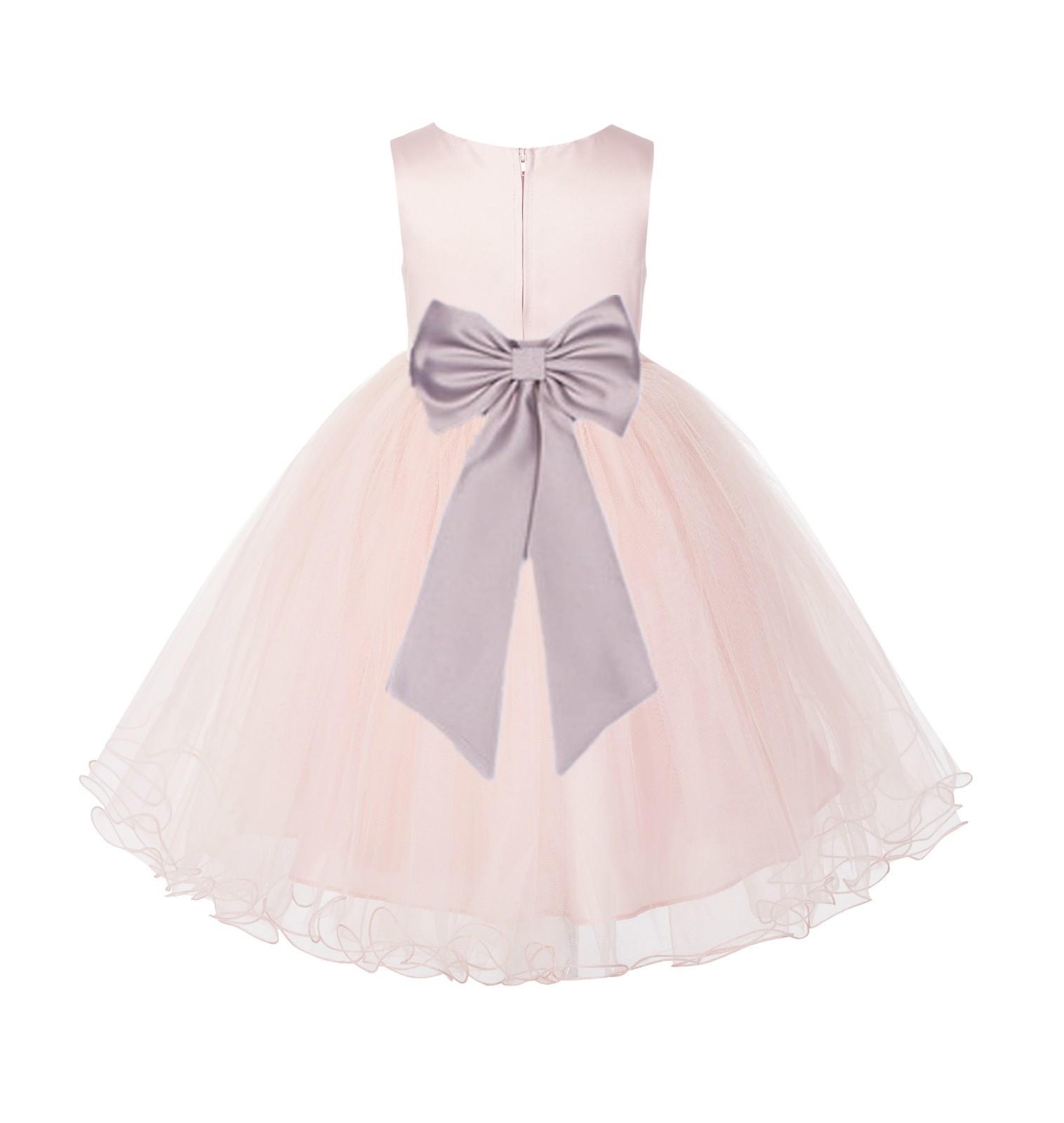 Blush PInk / Biscotti Tulle Rattail Edge Flower Girl Dress Wedding Bridesmaid 829T