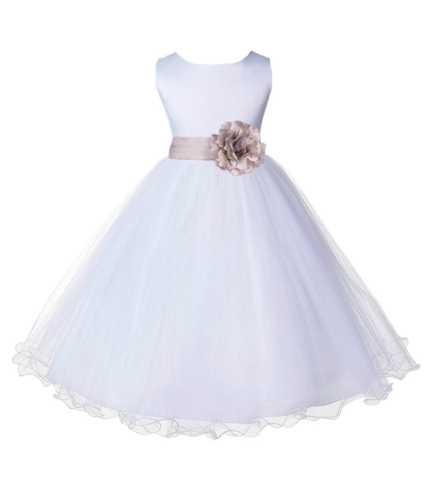 White/Biscuit Tulle Rattail Edge Flower Girl Dress Wedding Bridal 829S