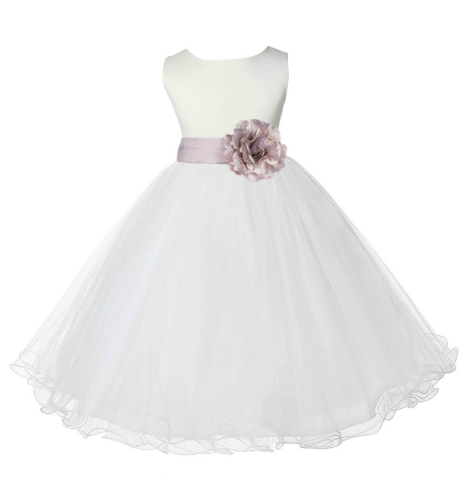 Ivory/Biscuit Tulle Rattail Edge Flower Girl Dress Pageant Recital 829S