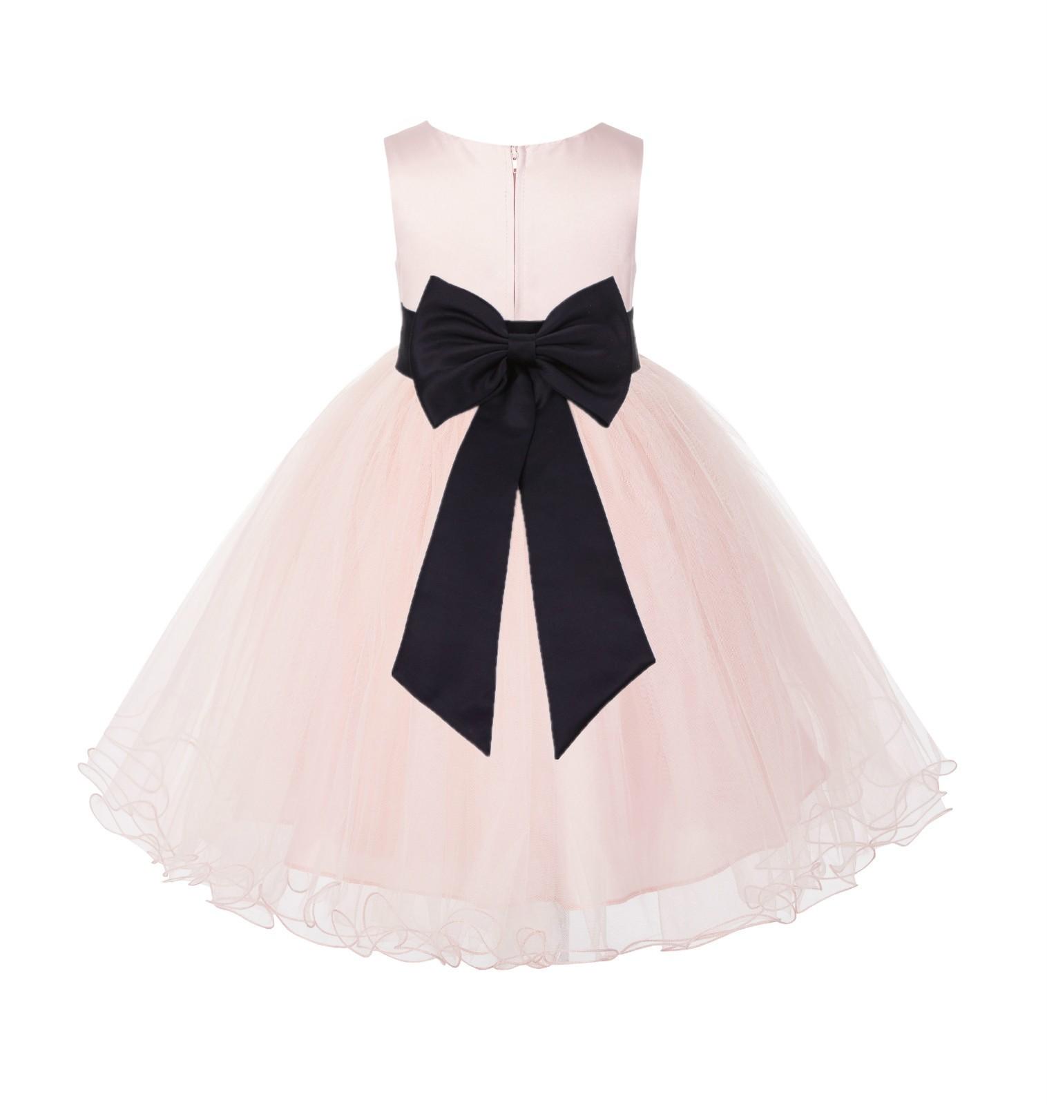 Blush PInk / Black Tulle Rattail Edge Flower Girl Dress Wedding Bridesmaid 829T
