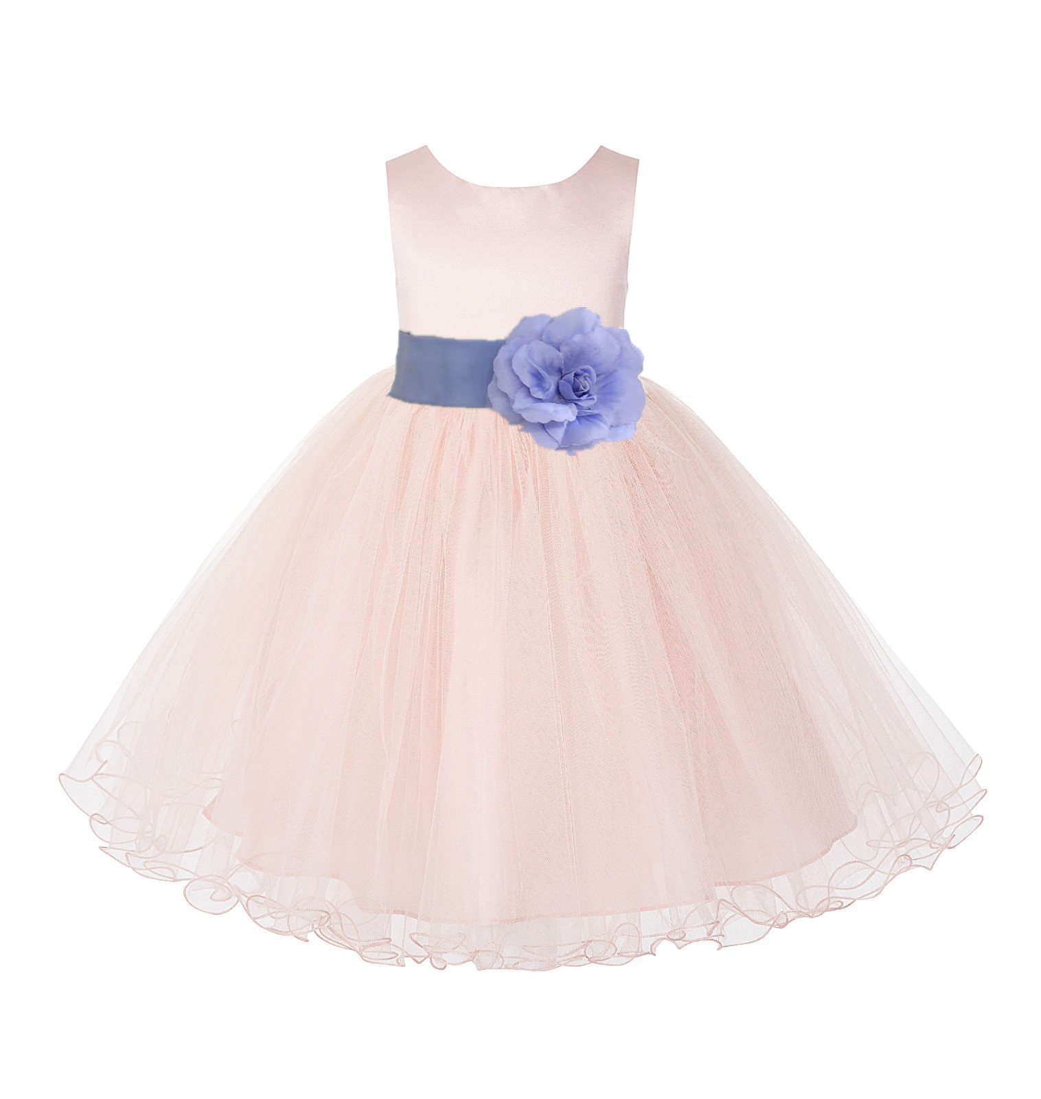 Blush Pink / Bluebird Tulle Rattail Edge Flower Girl Dress Pageant Recital 829S