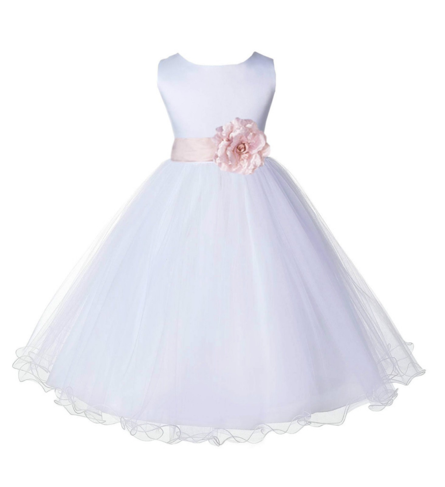 White/Blush Pink Tulle Rattail Edge Flower Girl Dress Wedding Bridal 829S