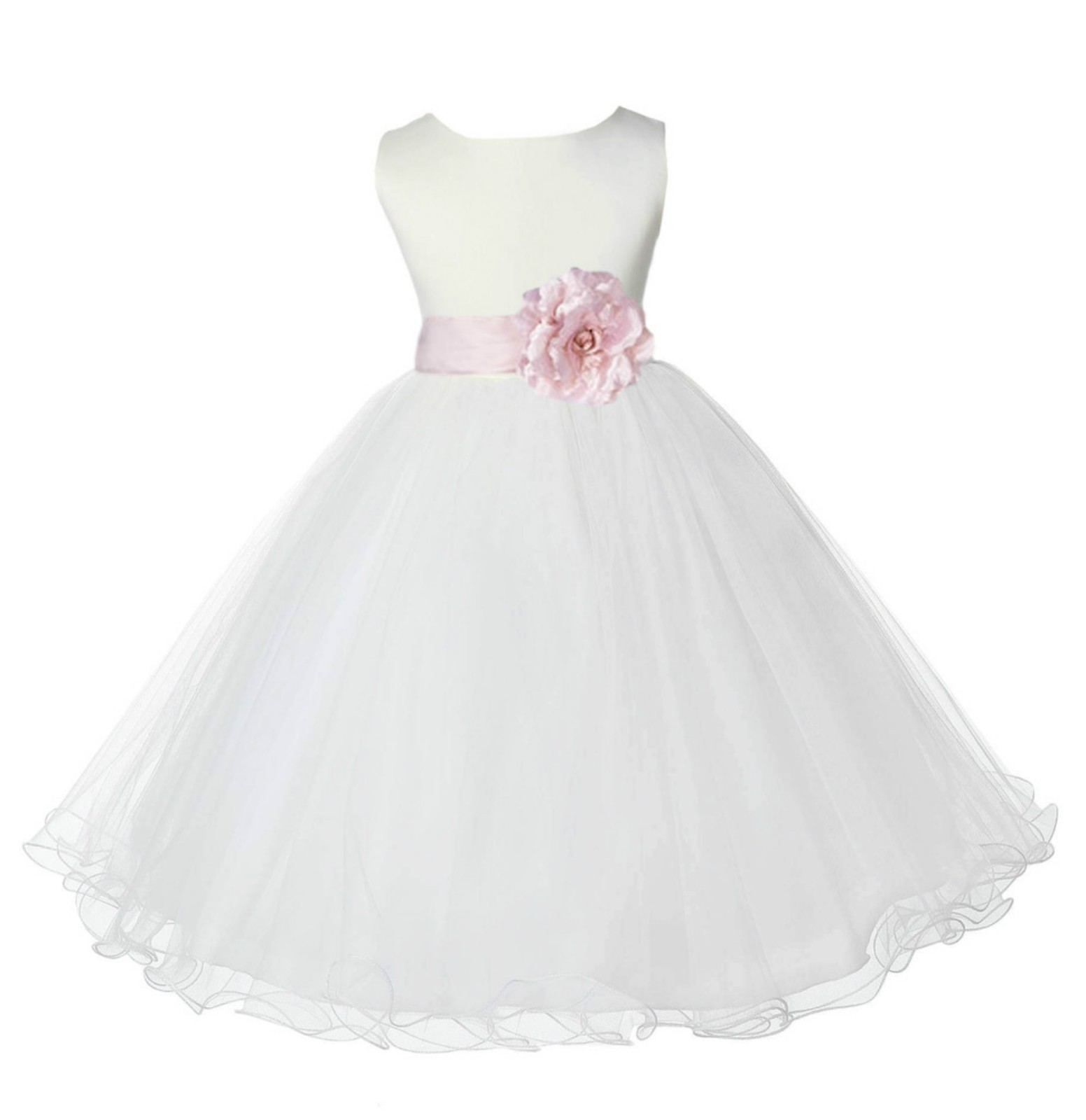 Ivory/Blush Pink Tulle Rattail Edge Flower Girl Dress Pageant Recital 829S