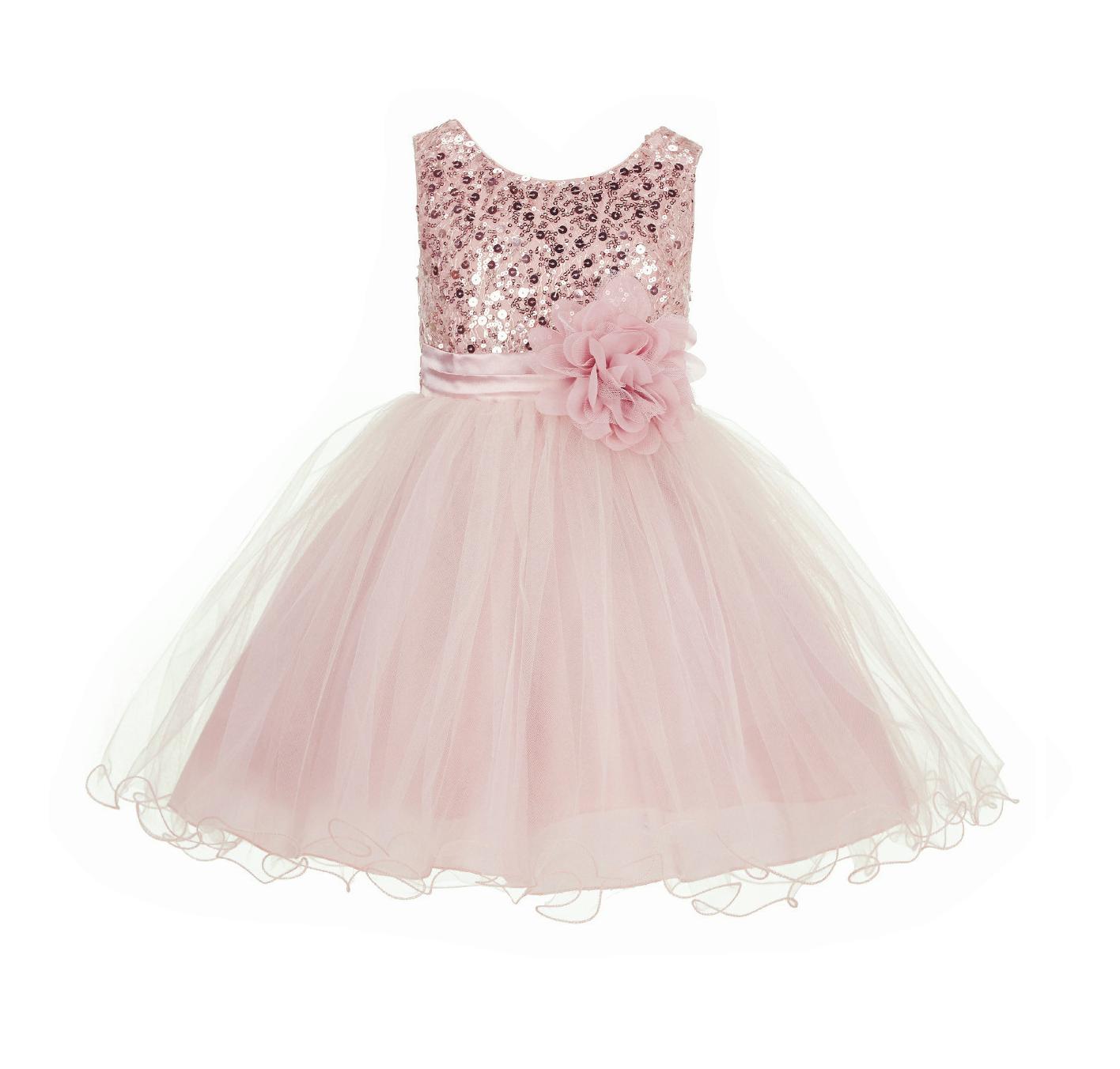 Blush Pink Glitter Sequin Tulle Flower Girl Dress Pretty Princess B