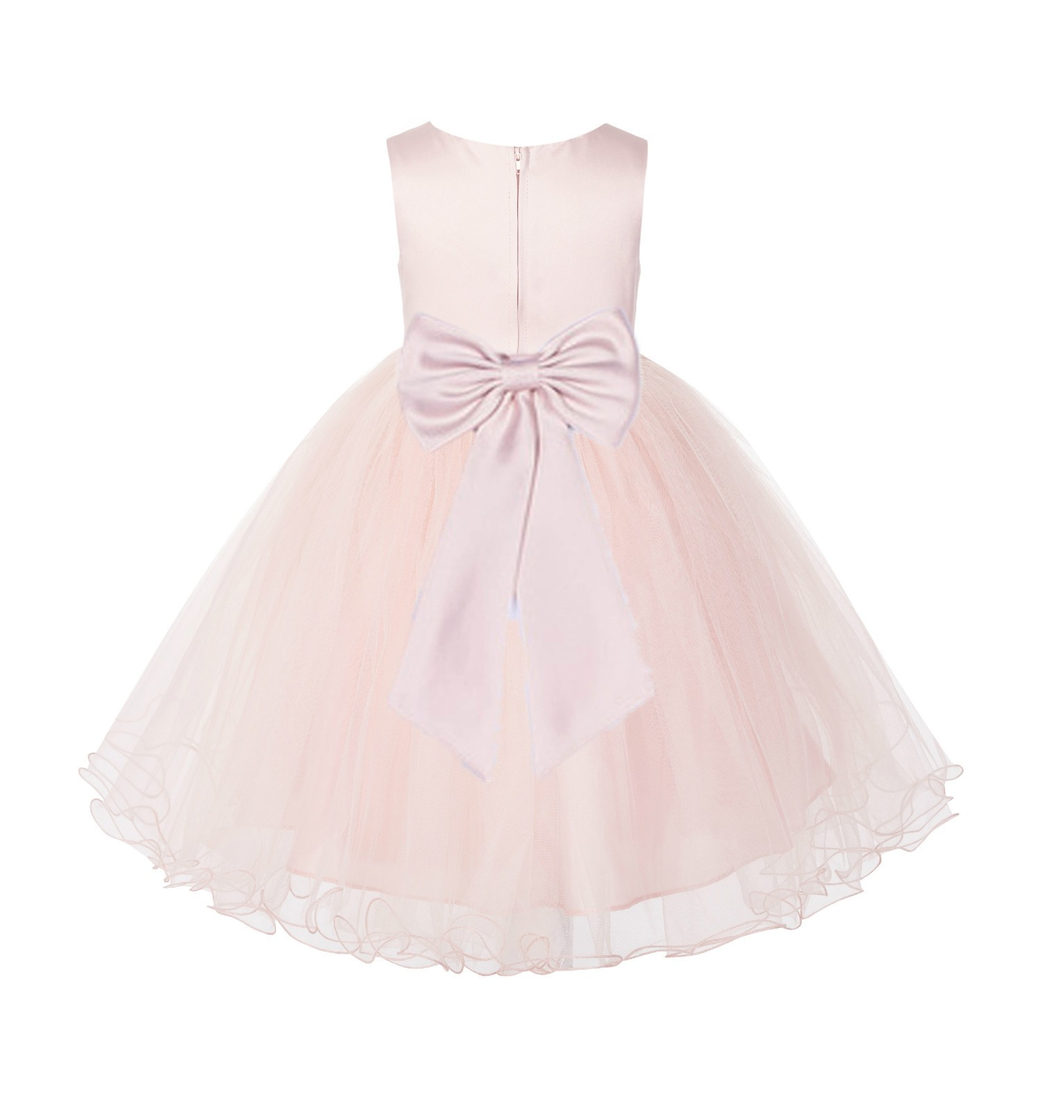 Blush PInk / Blush Tulle Rattail Edge Flower Girl Dress Wedding Bridesmaid 829T