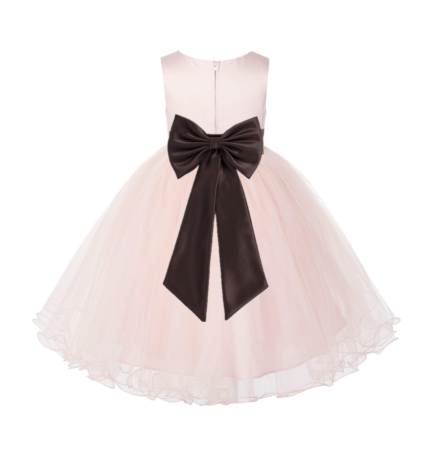 Blush PInk / Brown Tulle Rattail Edge Flower Girl Dress Wedding Bridesmaid 829T