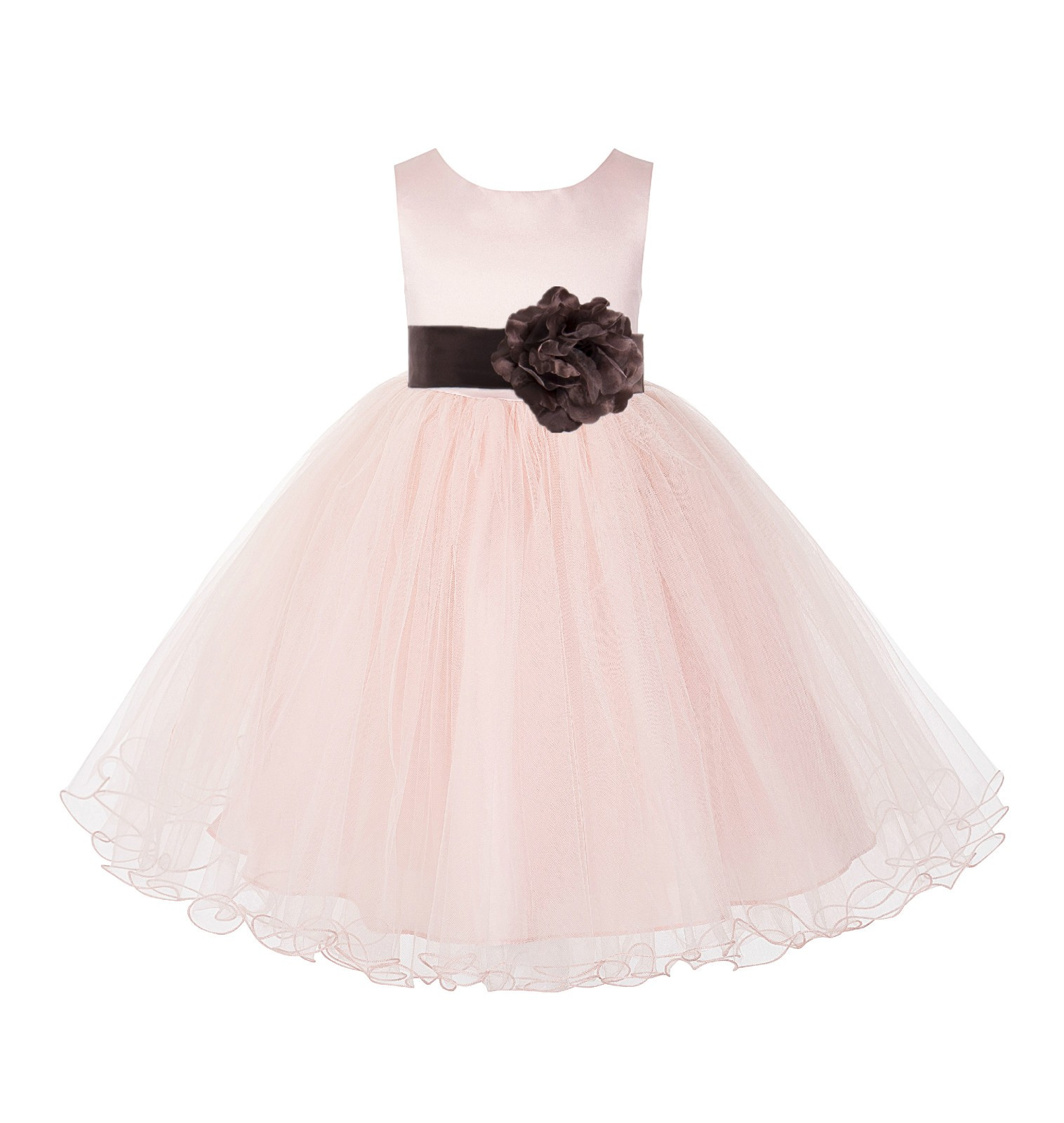 Blush Pink / Brown Tulle Rattail Edge Flower Girl Dress Pageant Recital 829S