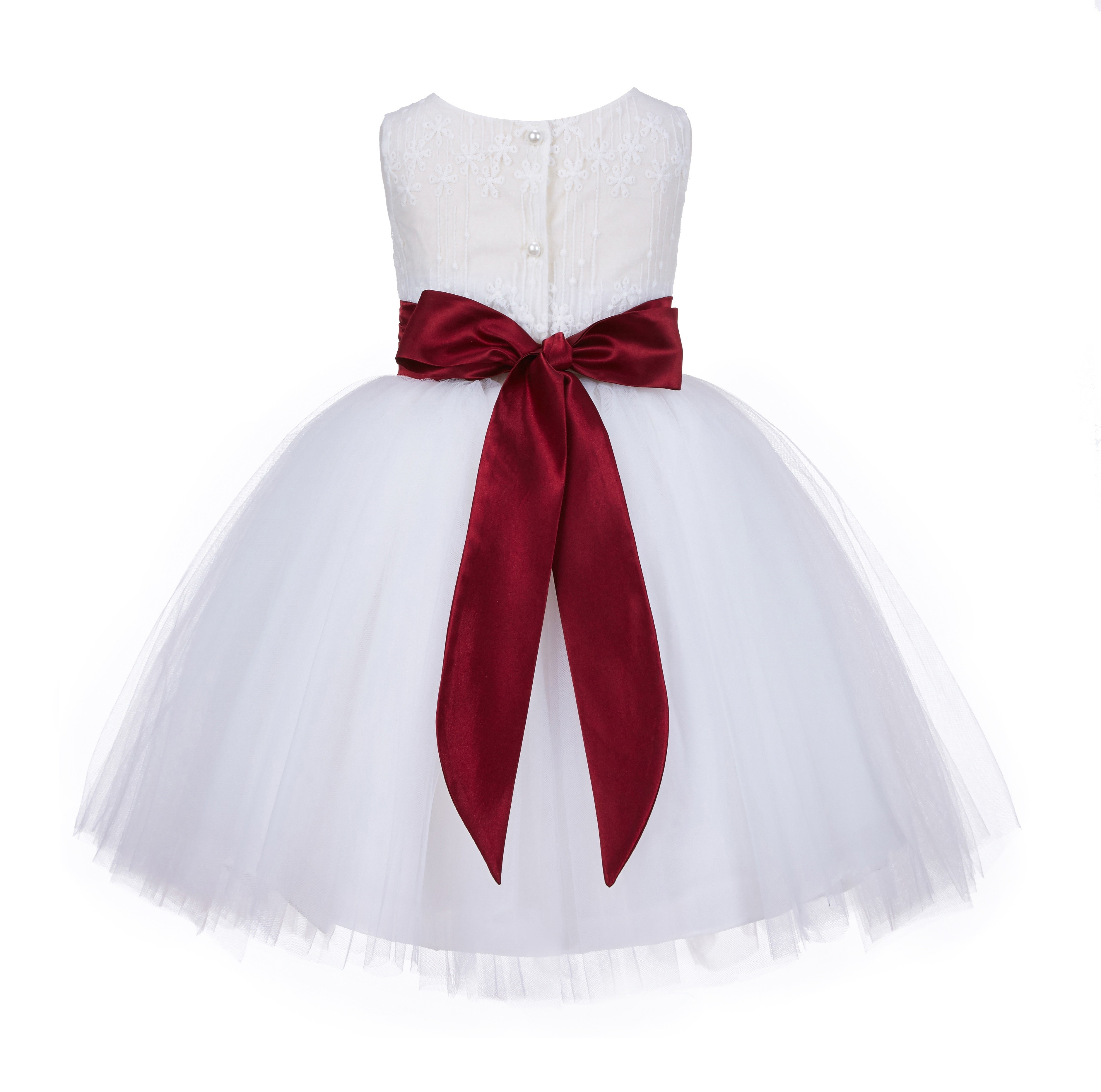 Ivory/Burgundy Lace Embroidery Tulle Flower Girl Dress Pageant 118 ...