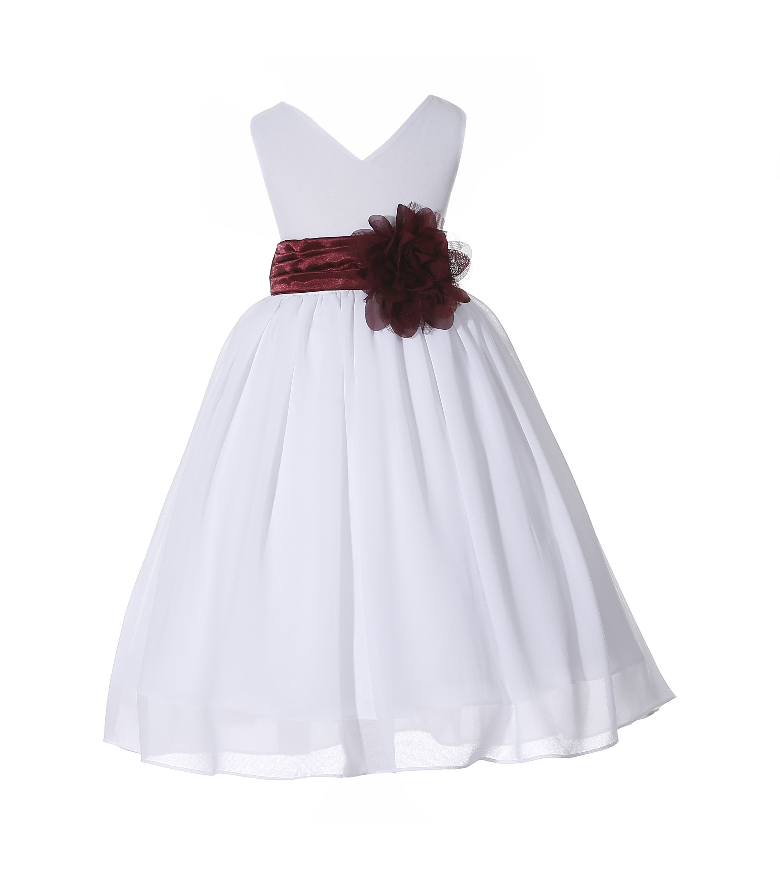 Whiteburgundy V Neck Yoryu Chiffon Flower Girl Dress Wedding 503nf