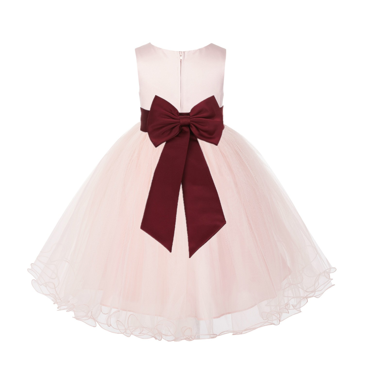 Blush PInk / Burgundy Tulle Rattail Edge Flower Girl Dress Wedding Bridesmaid 829T