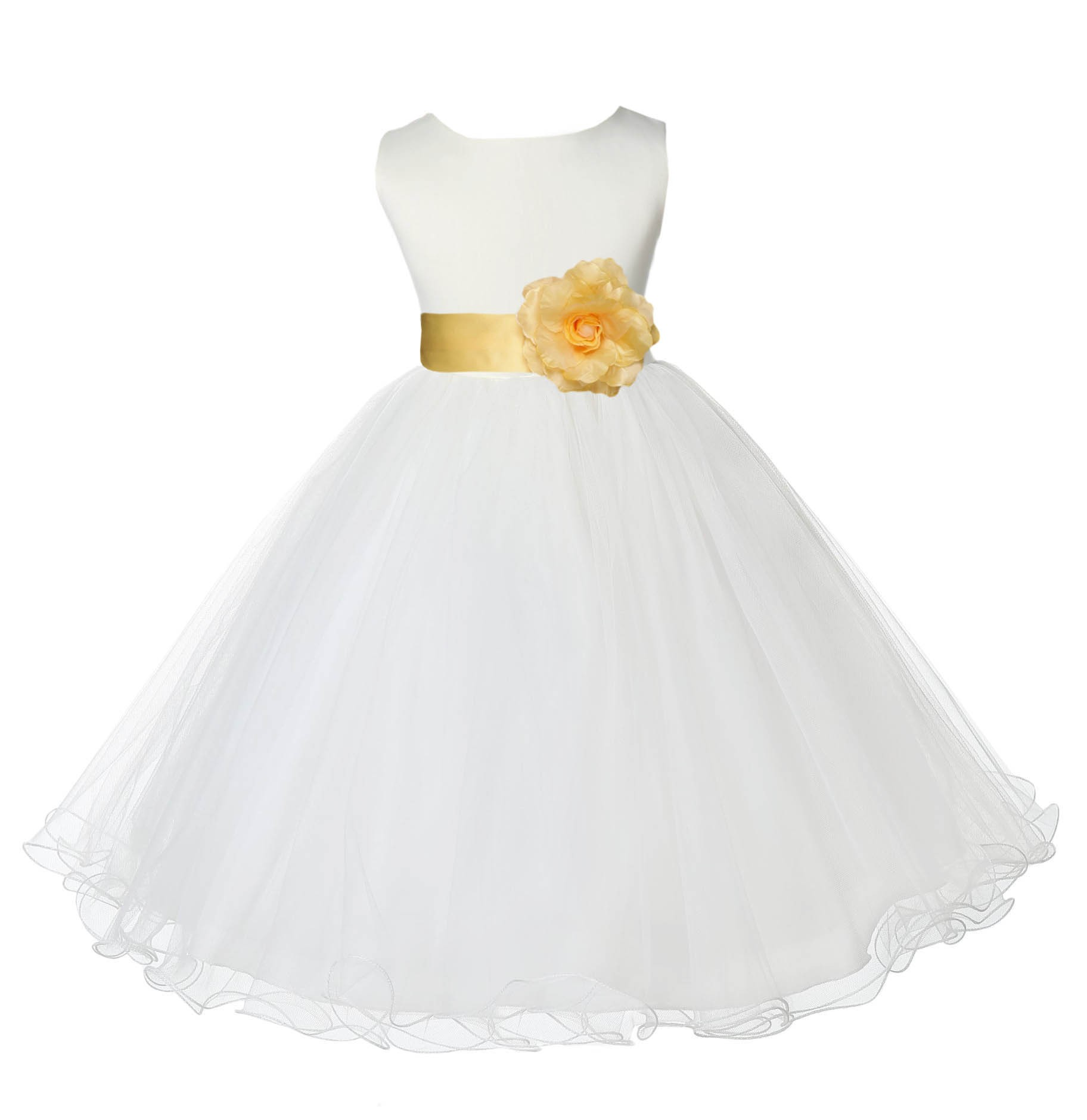 Ivorycanary Tulle Rattail Edge Flower Girl Dress Pageant Recital